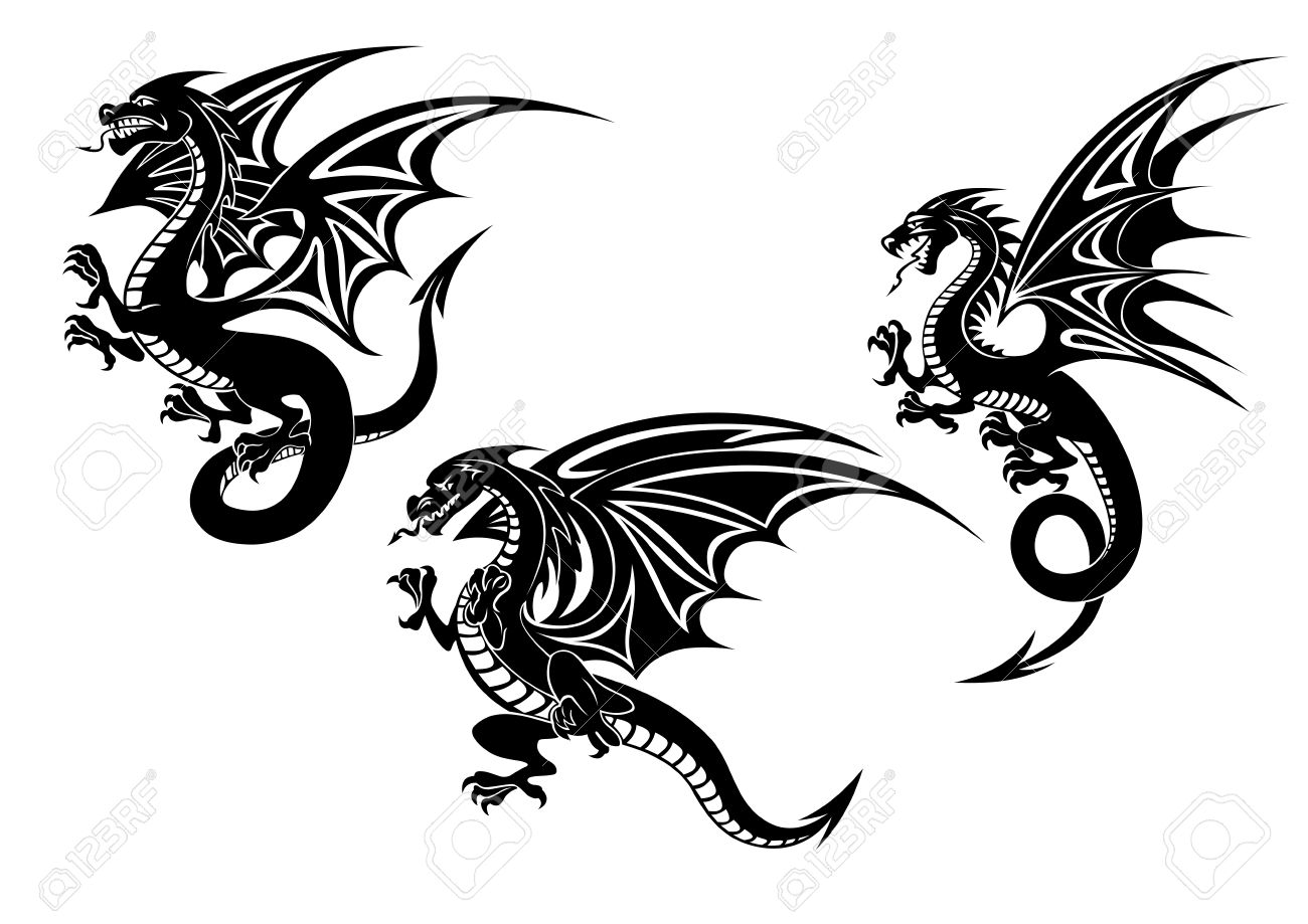 21ffd77e3 Black flying dragons with carved wings in tribal style isolated on white  background for tattoo or