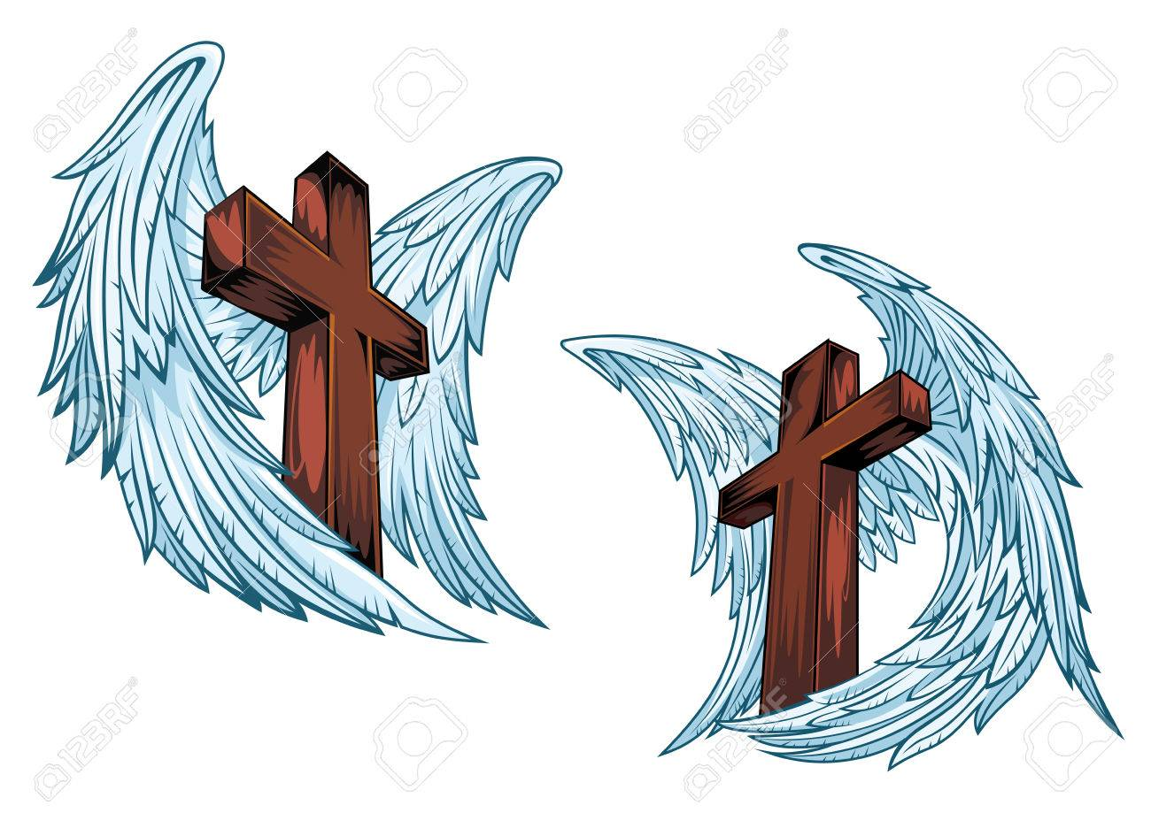 Wooden Crosses With Blue Angel Wings Isolated On White Background