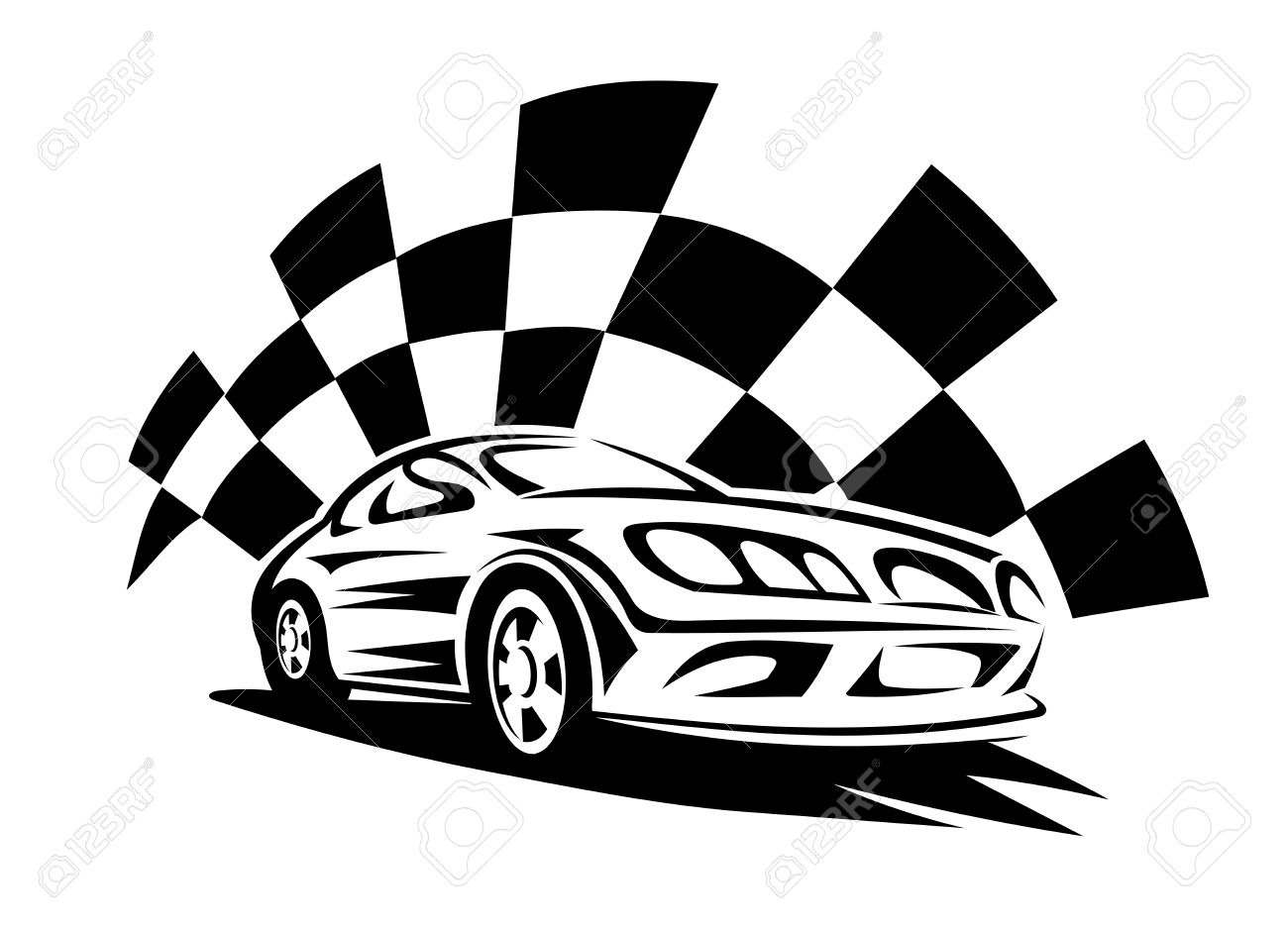 Black Silhouette Of Modern Racing Car With Checkered Flag On