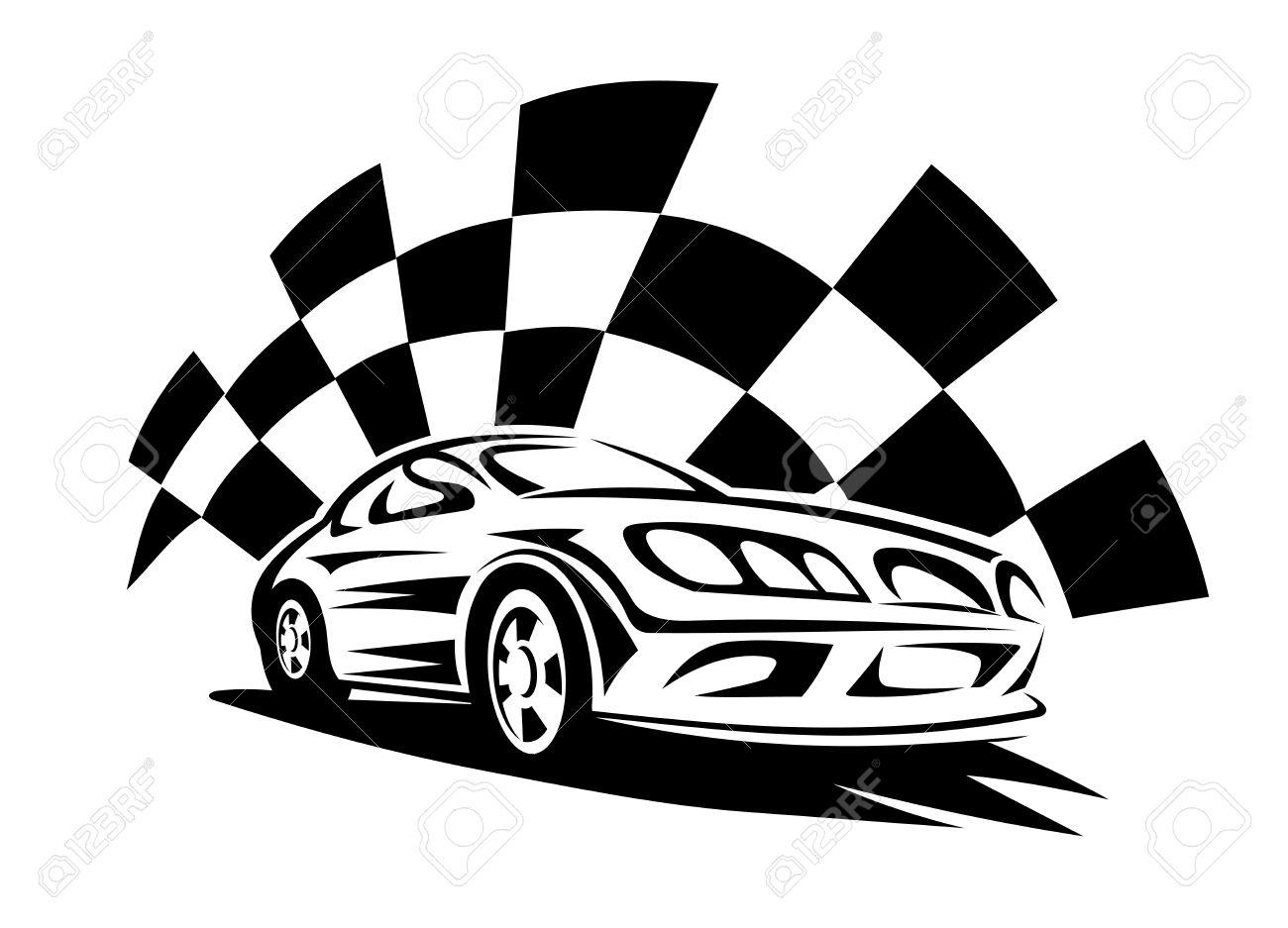 black silhouette of modern racing car with checkered flag on rh 123rf com race car vector art race car vector graphics