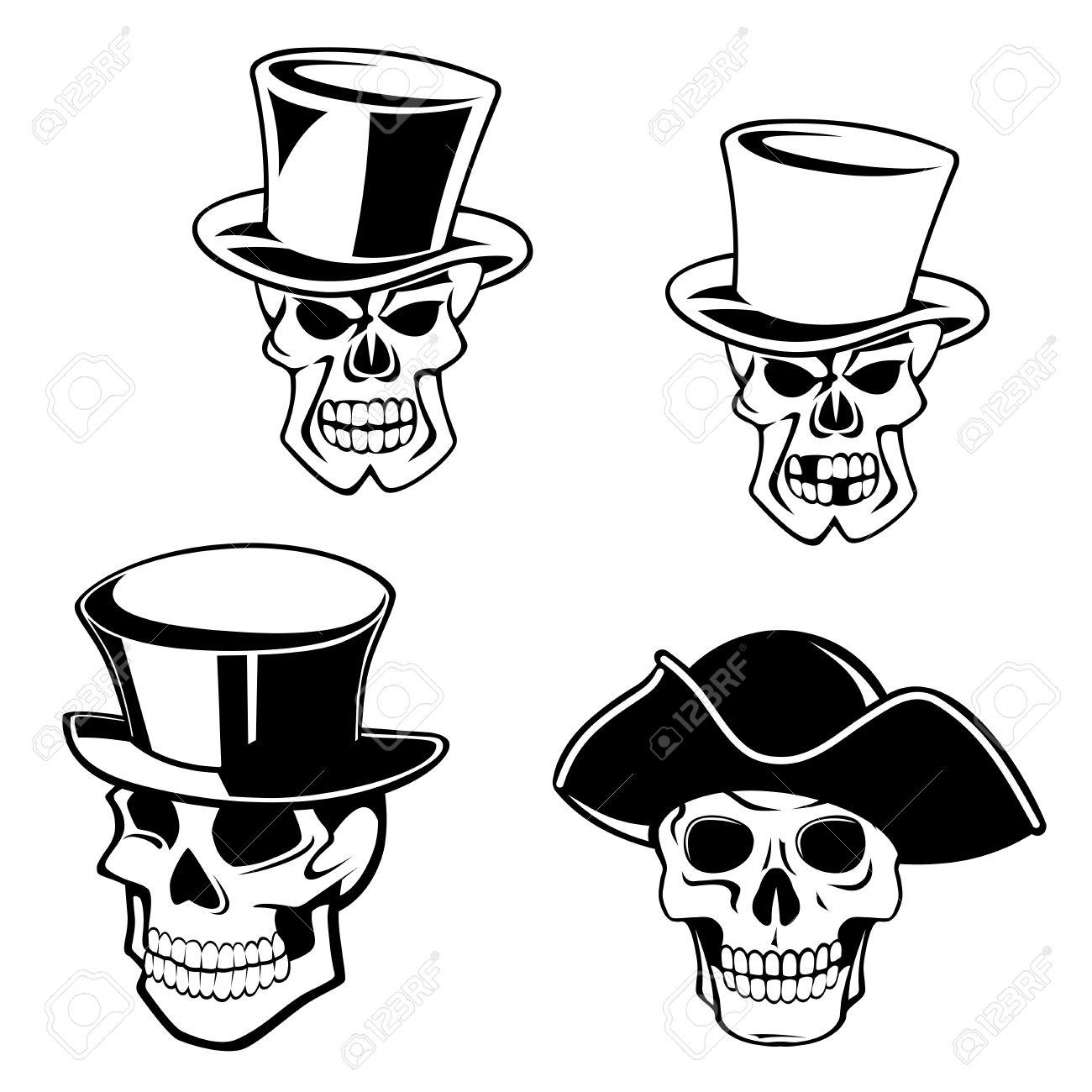 Cráneos de dibujos animados con sombreros de copa retro y sombrero de  capitán pirata en colores 87cd3162e48