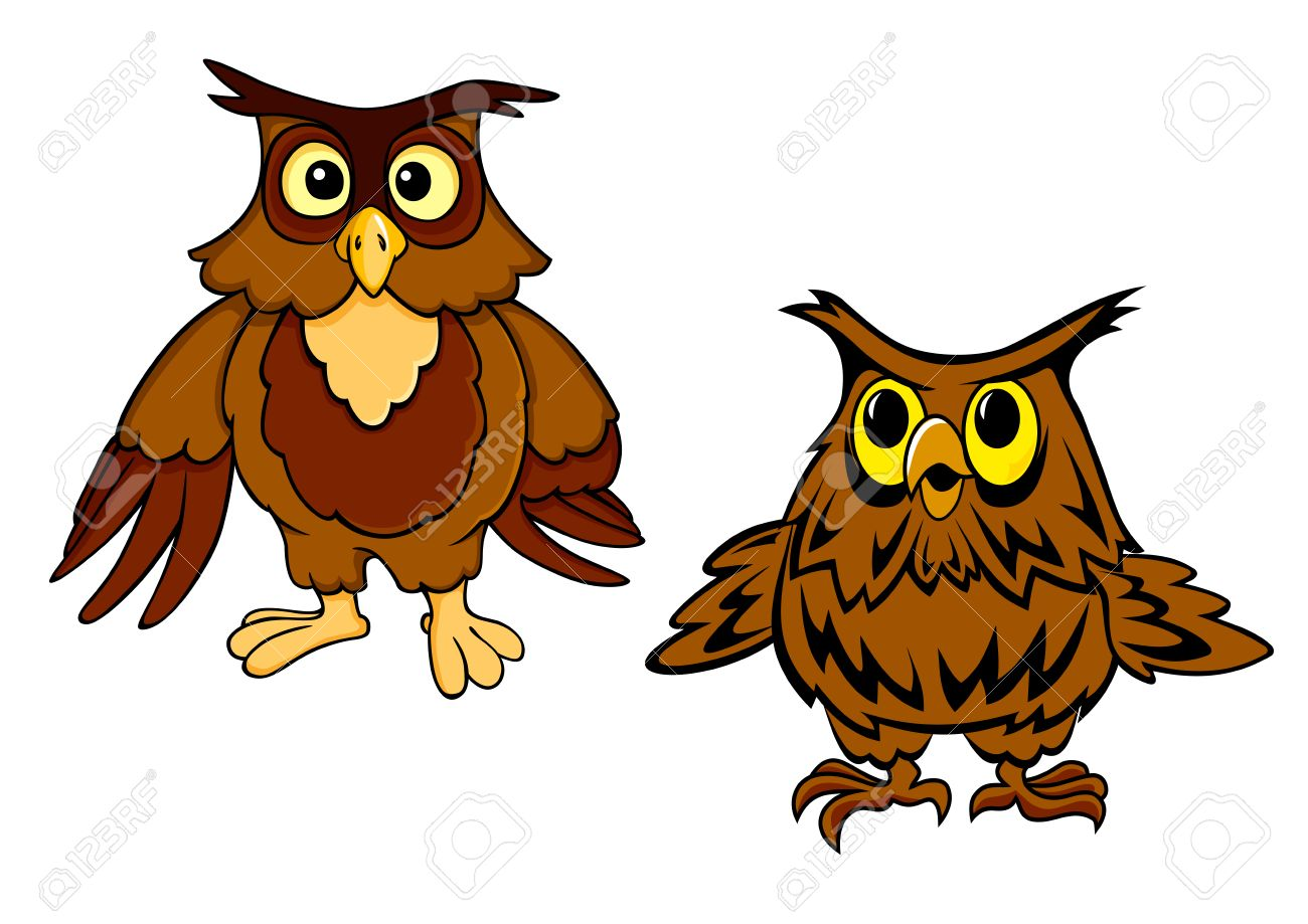 Lustige Eulen Comic Figuren Die Braune Nachtvögel Mit Großen Augen