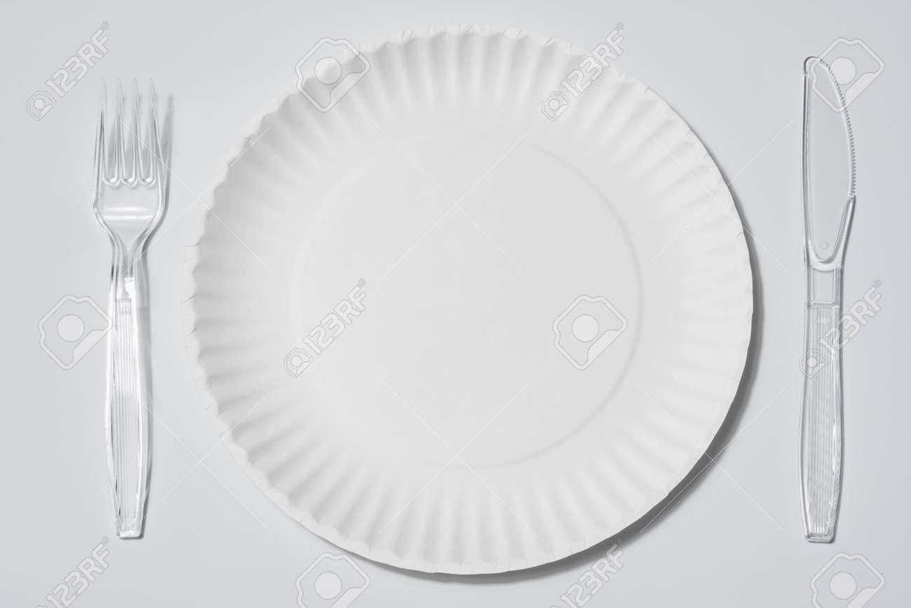 beautiful empty singleuse white paper plate with set of clear plastic fork and knife on white background with clear plastic plates  sc 1 st  thisnext.us & Clear Plastic Plates. Clear Plastic Plates With Clear Plastic Plates ...