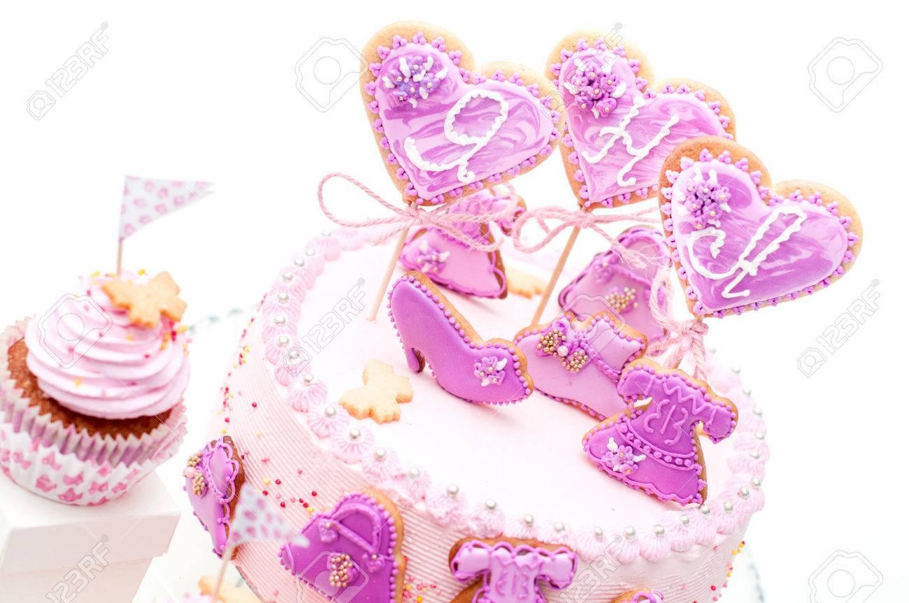 Rosa Und Violett Mädchen Geburtstagskuchen Lizenzfreie Fotos Bilder