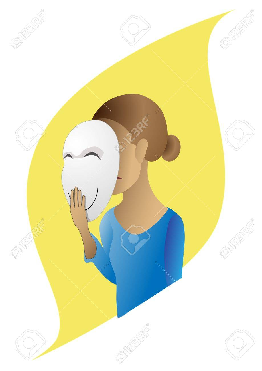 Vector image of a girl who hides his emotions under the mask Stock Vector - 13175514