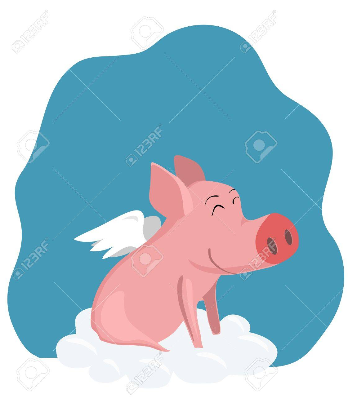 vector drawing a pig with wings on a cloud Stock Vector - 14647068