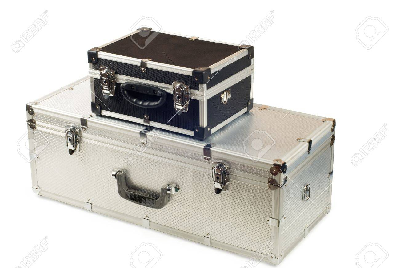 Two suitcases, aluminium and plastic on a white background Stock Photo - 15218088