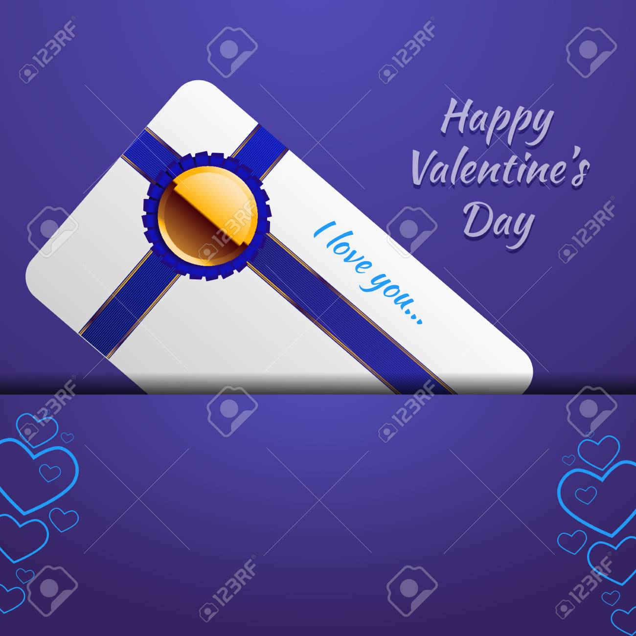 Love You Valentines Day Blue Card Royalty Free Cliparts Vectors