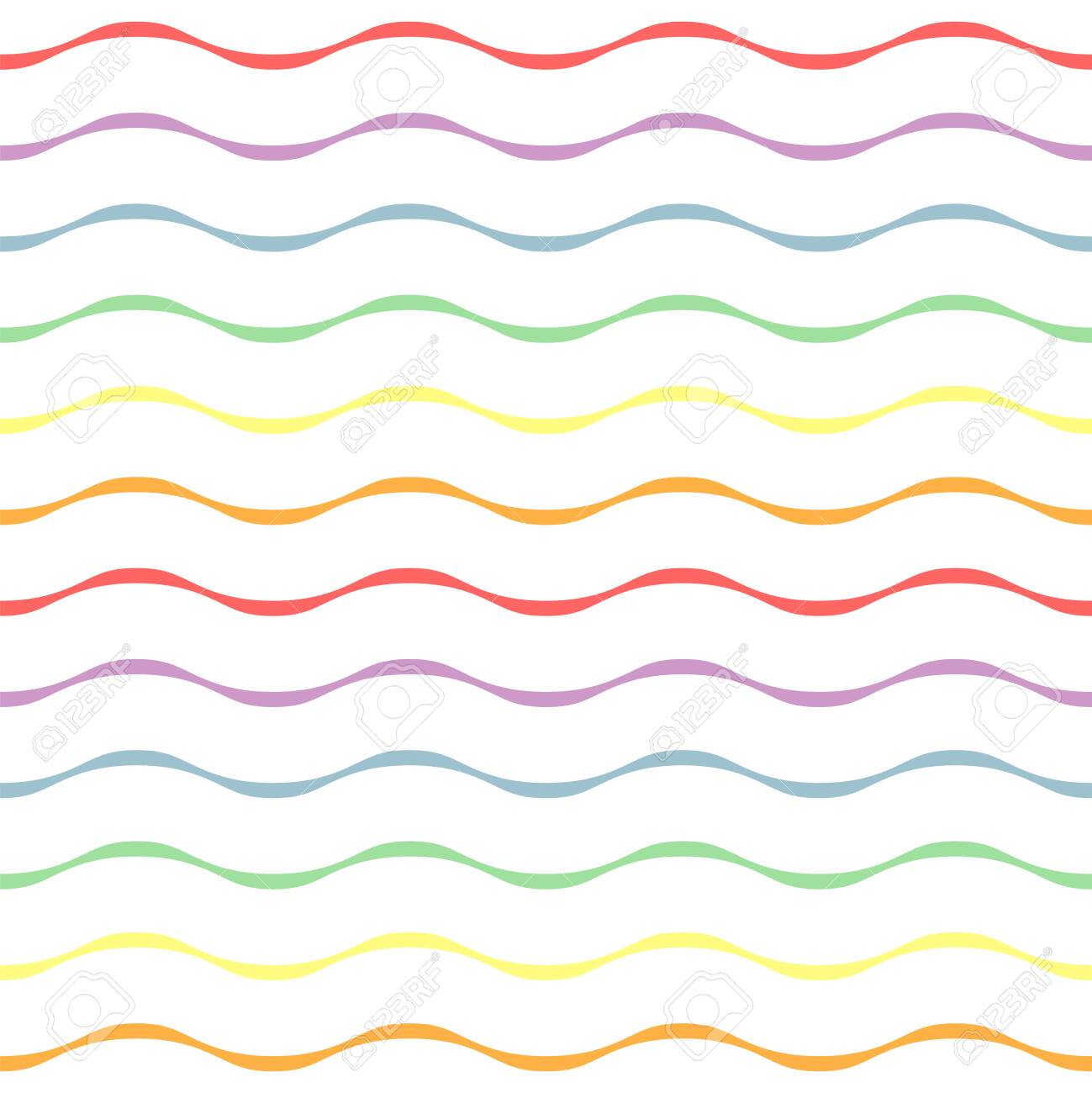 Rainbow wavy stripe repeat pattern on white background. Great for wallpaper, web background, wrapping paper, fabric, packaging, greeting cards, invitations and more. - 152080969