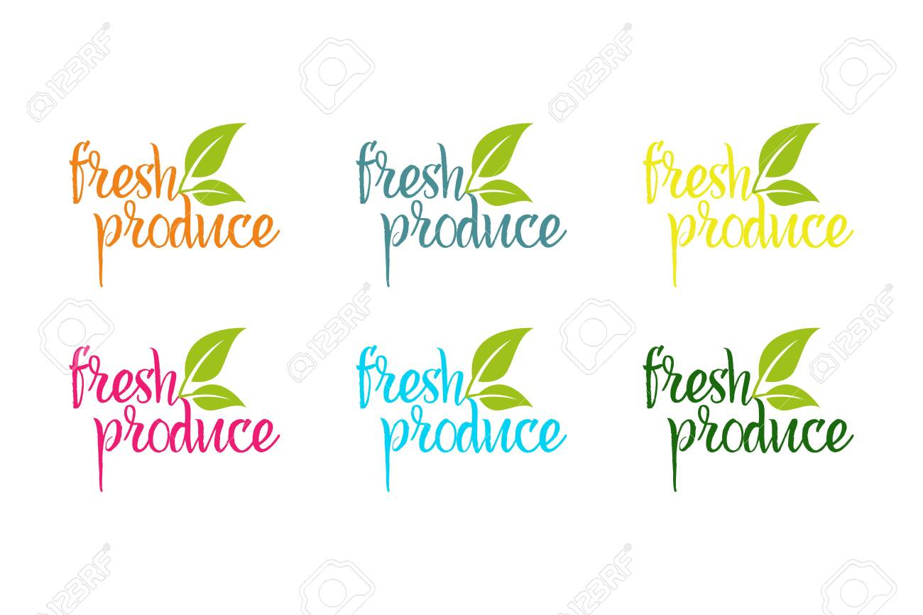 Fresh produce vector logo set in different colors with green herbal leaves - 145153272