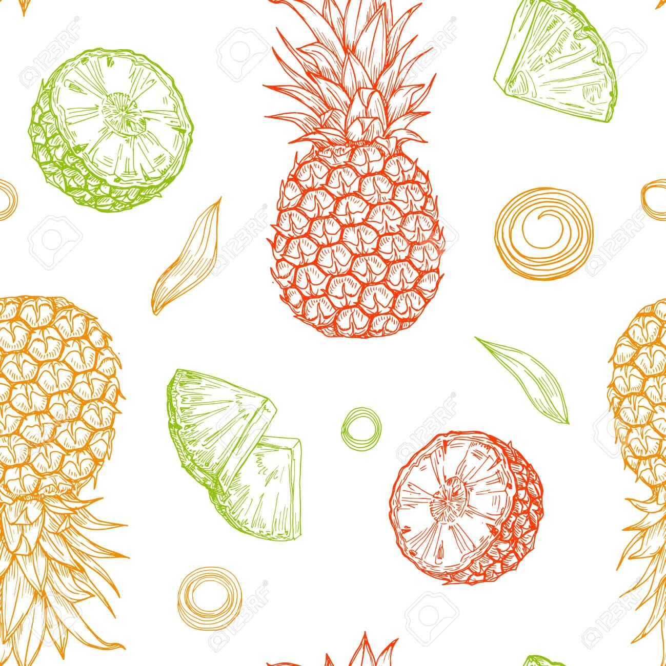 Hand drawn colored isolated pineapples seamless pattern on white background. Sketched abstract vector food illustration. Design element for card, print, template, wallpaper, texture, textile, cover. - 149431257