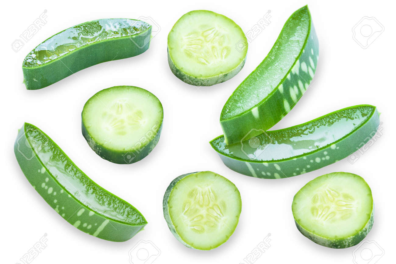 Closeup fresh organic aloe vera and cucumber sliced pattern texture for background. top view. Herbal medical plant concept. - 151566304