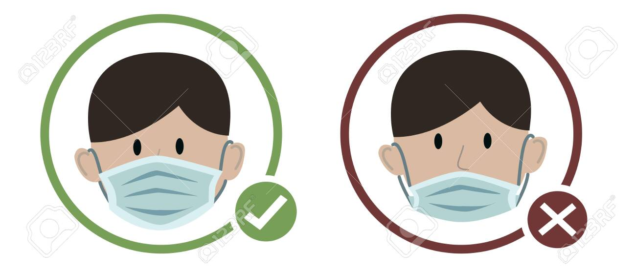 Man wearing protective medical face mask cartoon design icon vector illustration. Infectious control and protect coronavirus, covid19 pandemic concept. - 151584817