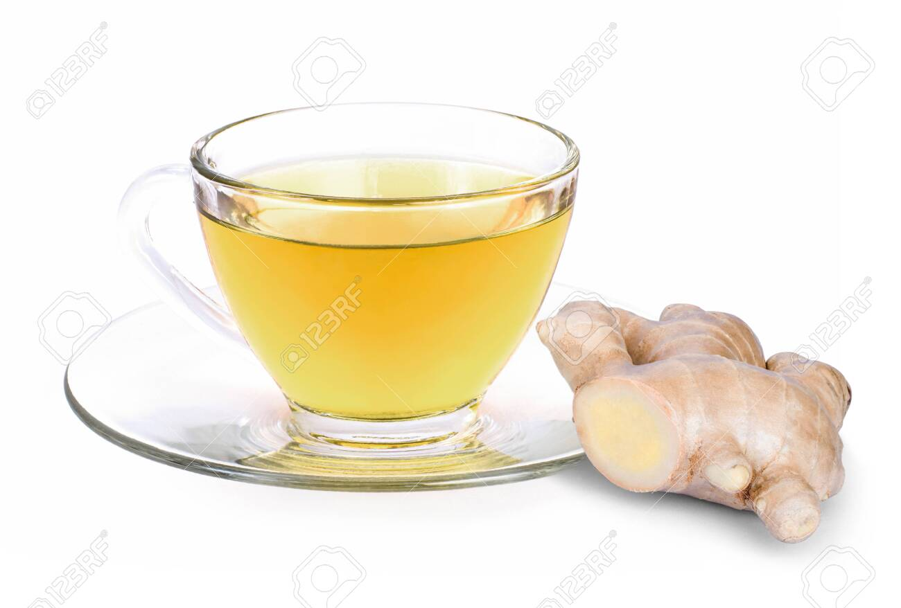 Closeup hot ginger tea in glass cup with fresh organic ginger root isolated on white background . - 152662286