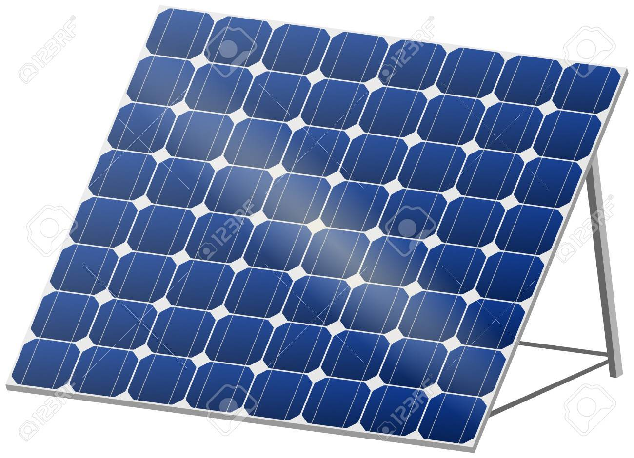 Blue solar panel with reflection in 3D Stock Vector - 9840939