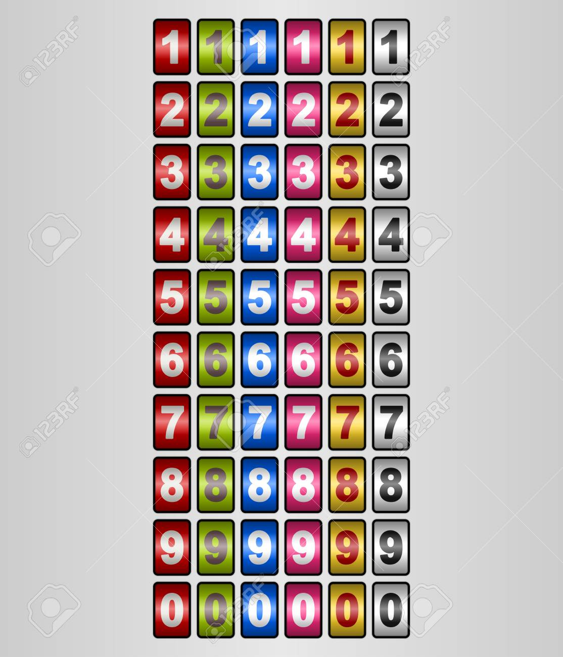 Rotating Numbers in various colors Stock Vector - 11818637