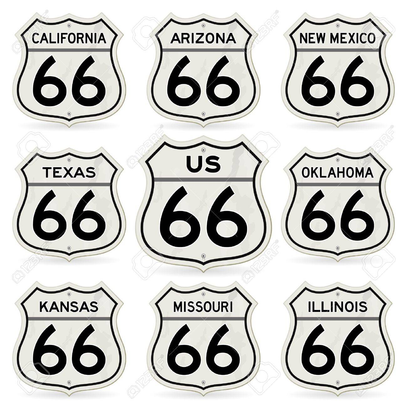 Complete Route 66 Signs Collection Stock Vector - 12274692