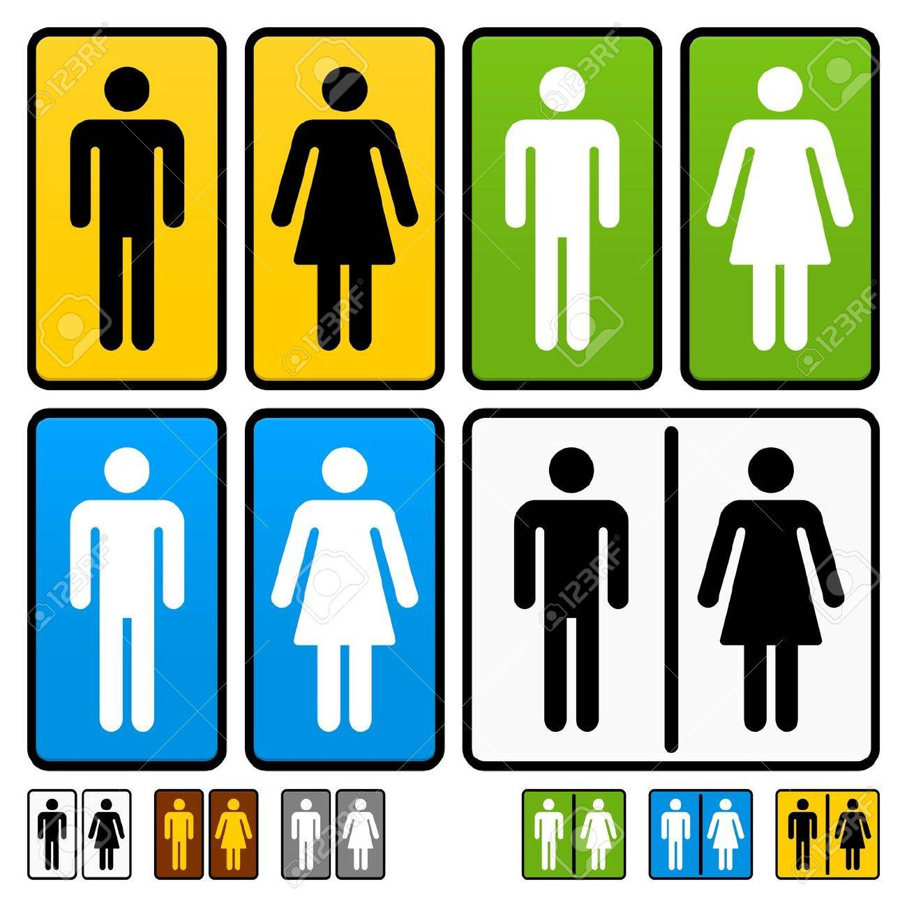 Male and Female Restrooms Vector Sign Stock Vector - 12274693