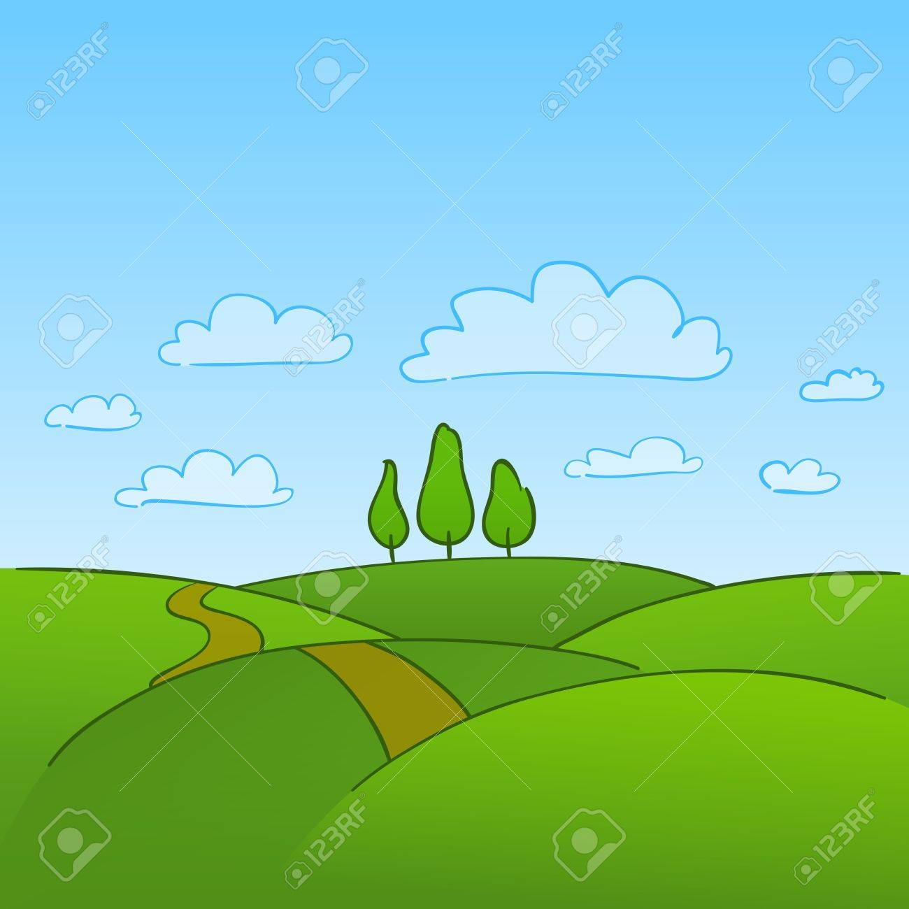 Green Countryside and Trees Stock Vector - 12711713