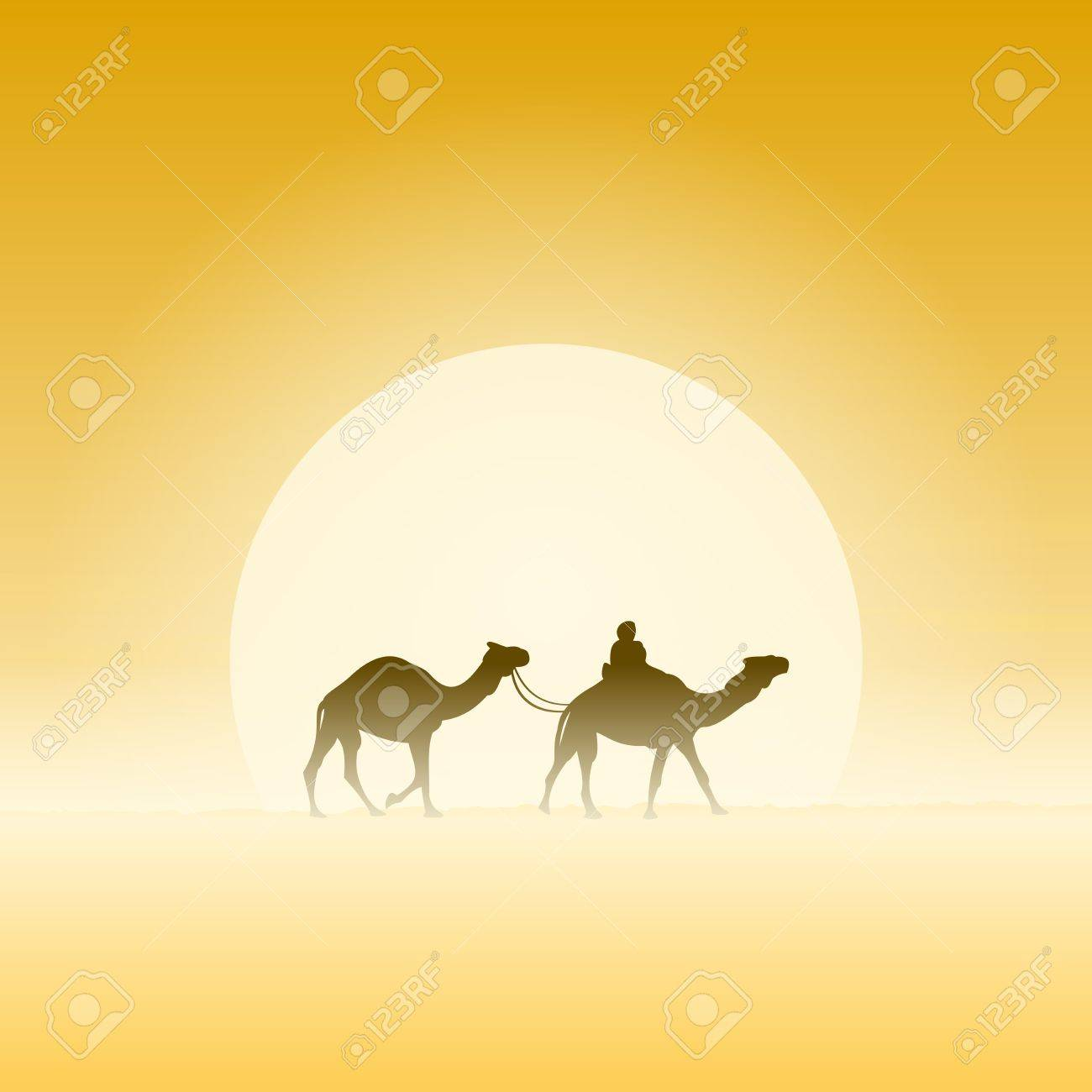 Two Camels and Sun Stock Vector - 15782592