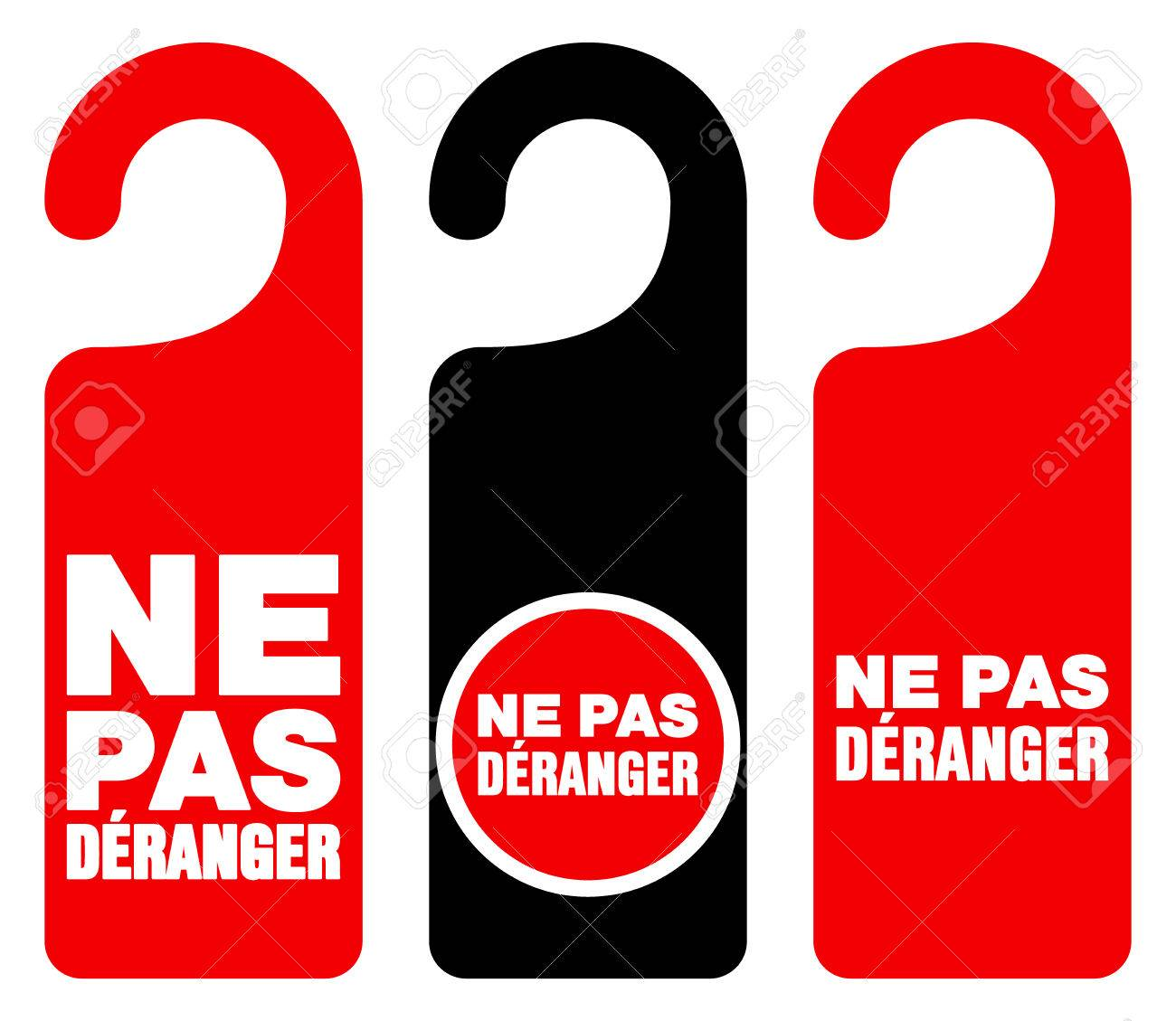 Set of three red black and white door hang tag signs with do not disturb  sc 1 st  123RF.com & Set Of Three Red Black And White Door Hang Tag Signs With Do ...