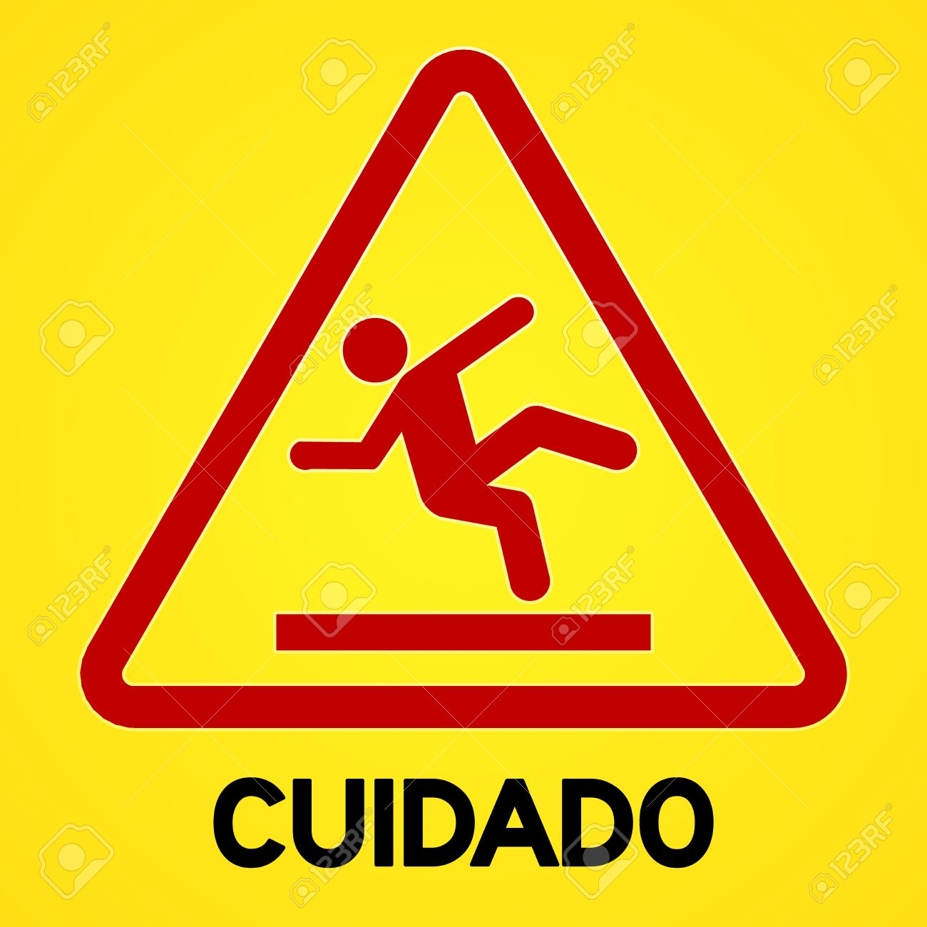 Square Symbol Of Bright Yellow And Red Cuidado Sign With Triangular