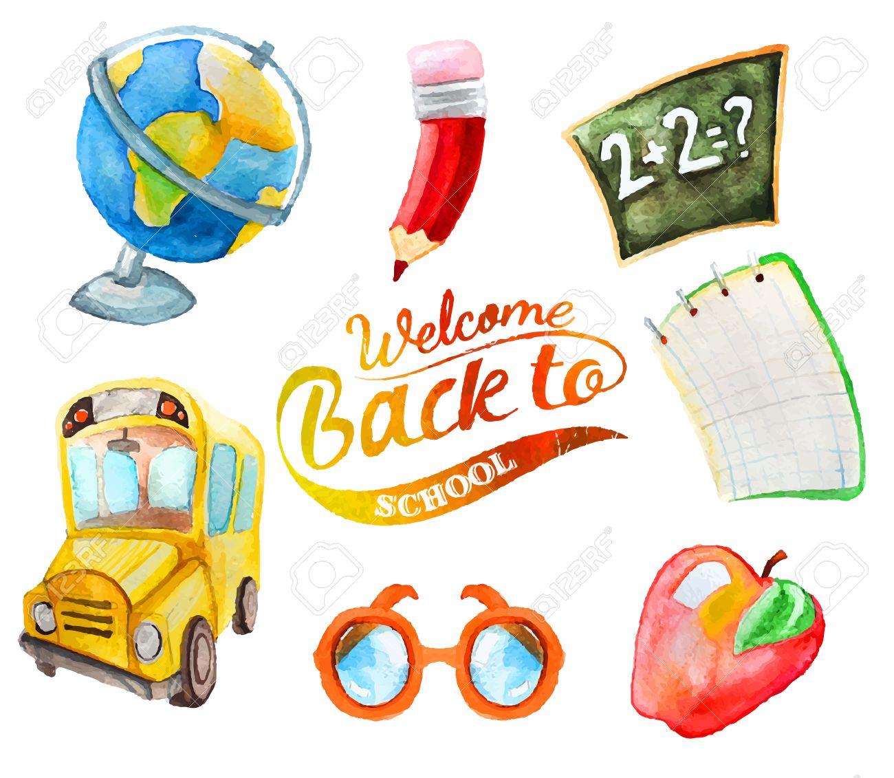 Watercolor hand drawn set of school items. Welcome back to school. Globe, school bus, apple, glasses, pencil, notebook, school board, blackboard, math. - 42848911
