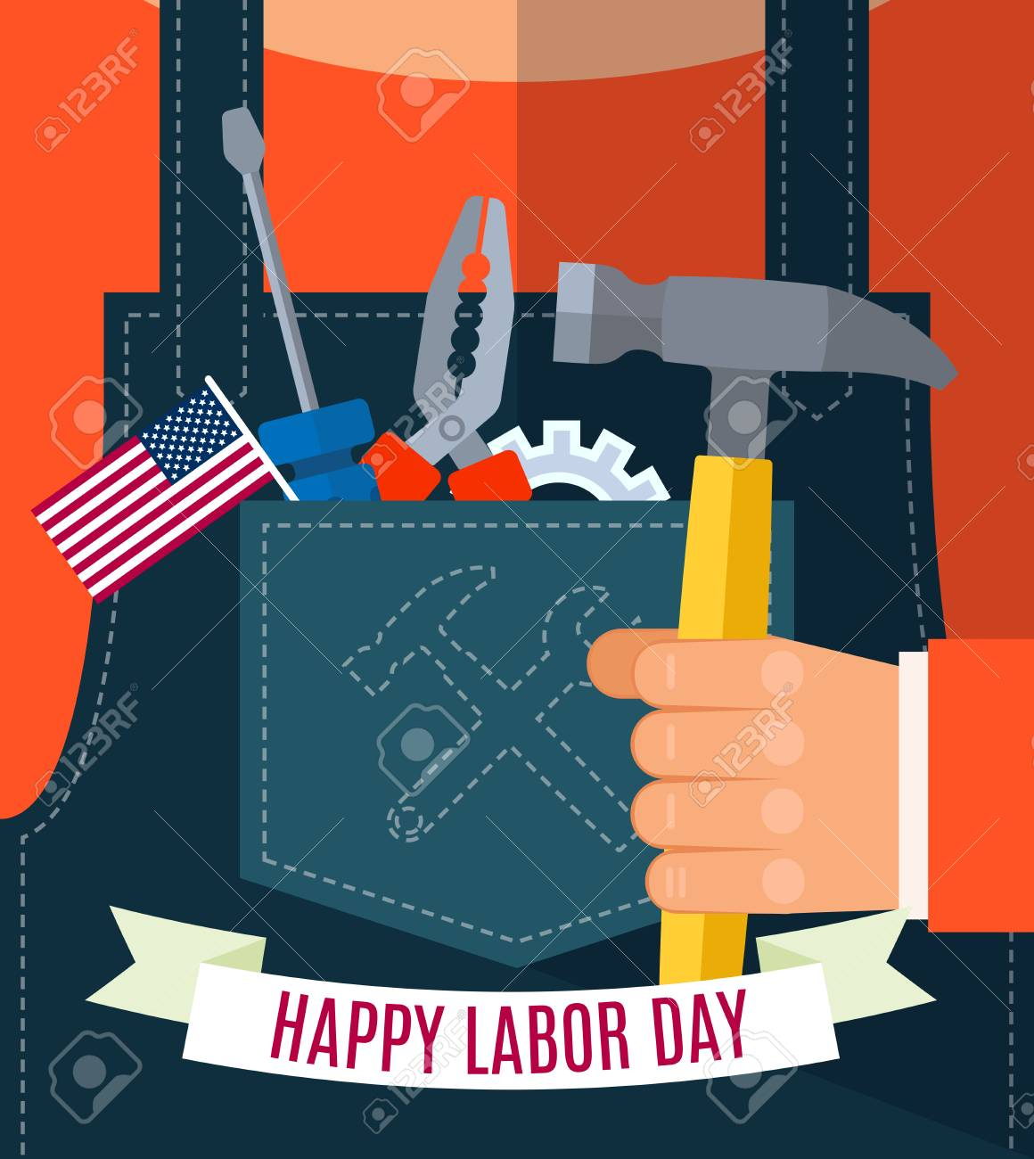 Happy Labor Day Greetings Cards Design Poster Banner Brochure
