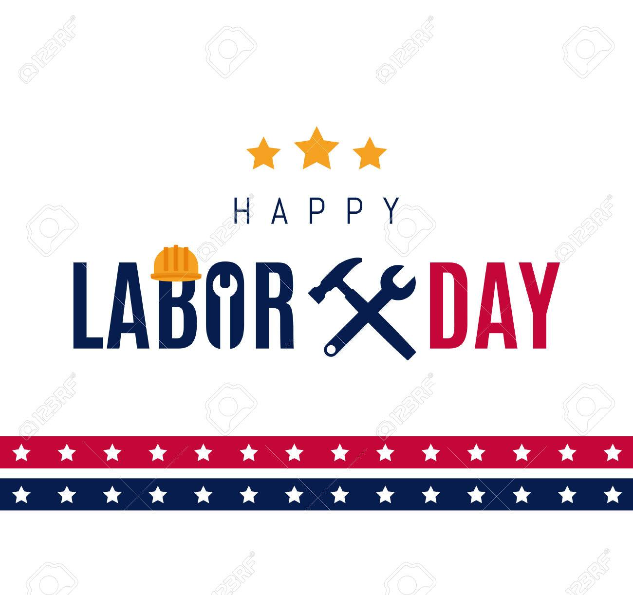 Happy Labor day Greetings Cards design Poster, banner, brochure, flyer. Wrench and hammer icon with star strip and lettering. Flat design. Vector illustration. EPS 10 - 72312482