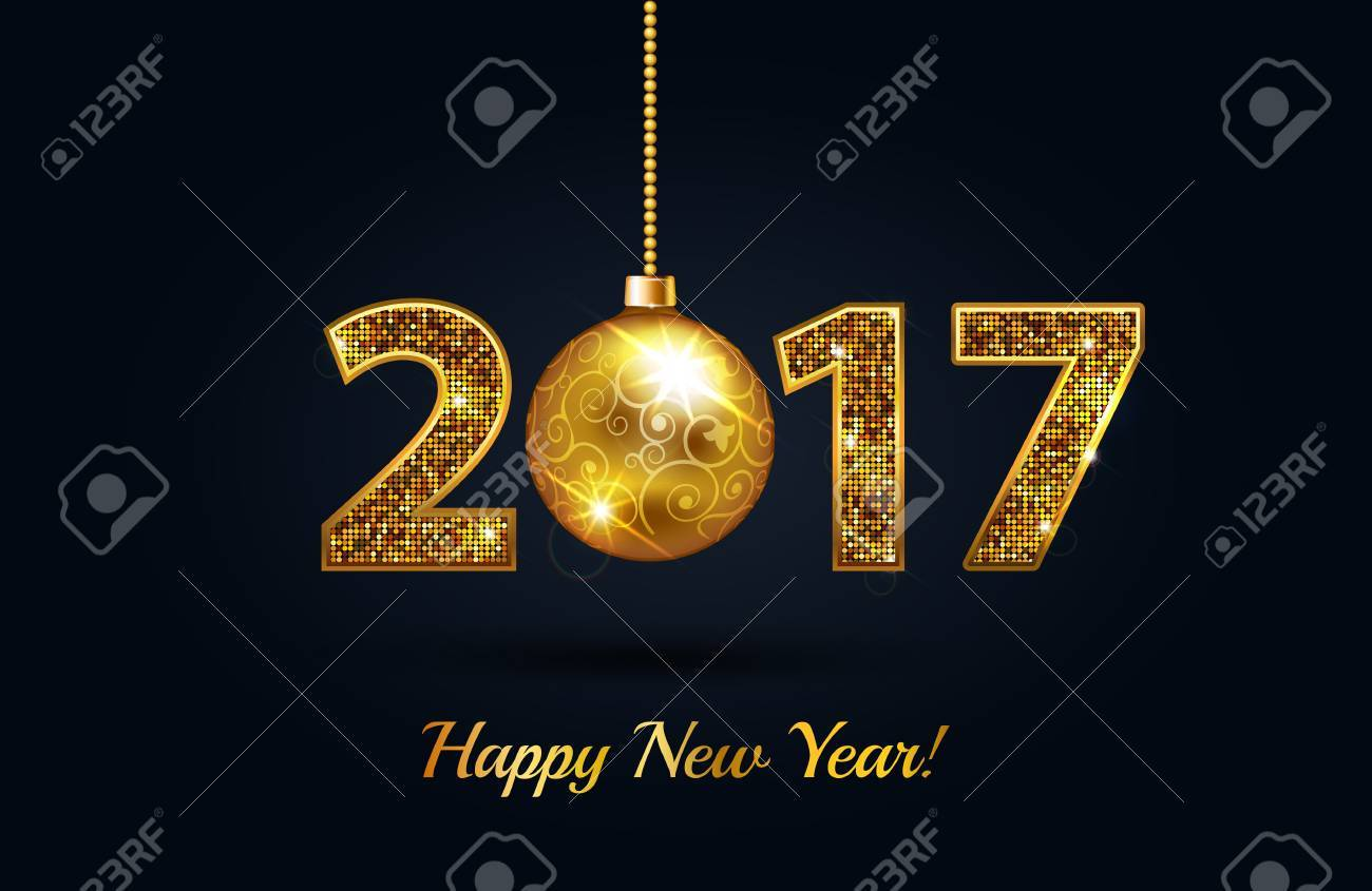 Happy New Year 2017 Gold On A Black Greeting Card Background