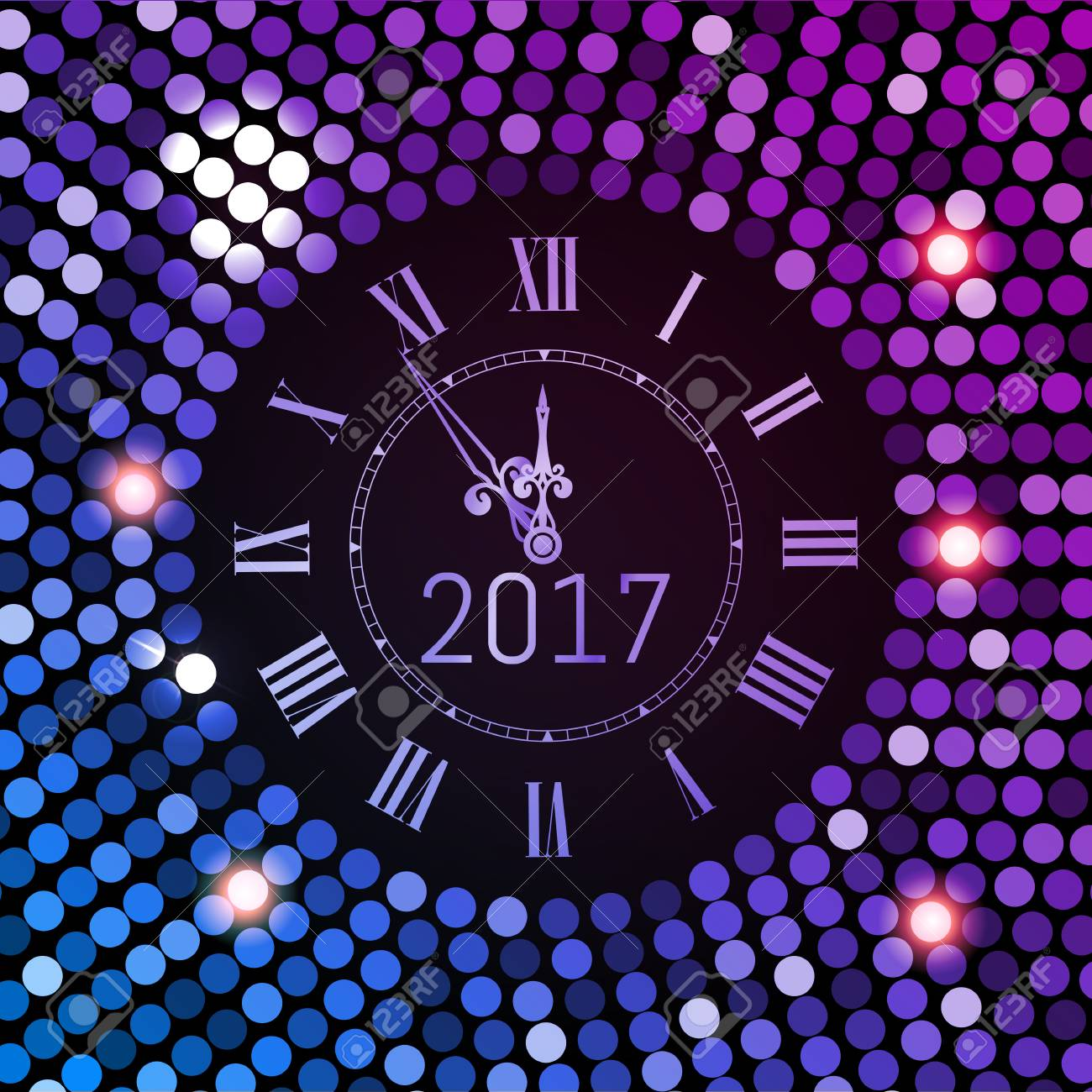 illustration new year 2017 celebration background purple circle disco pattern background with clock number 2017 shining gradient club neon happy new