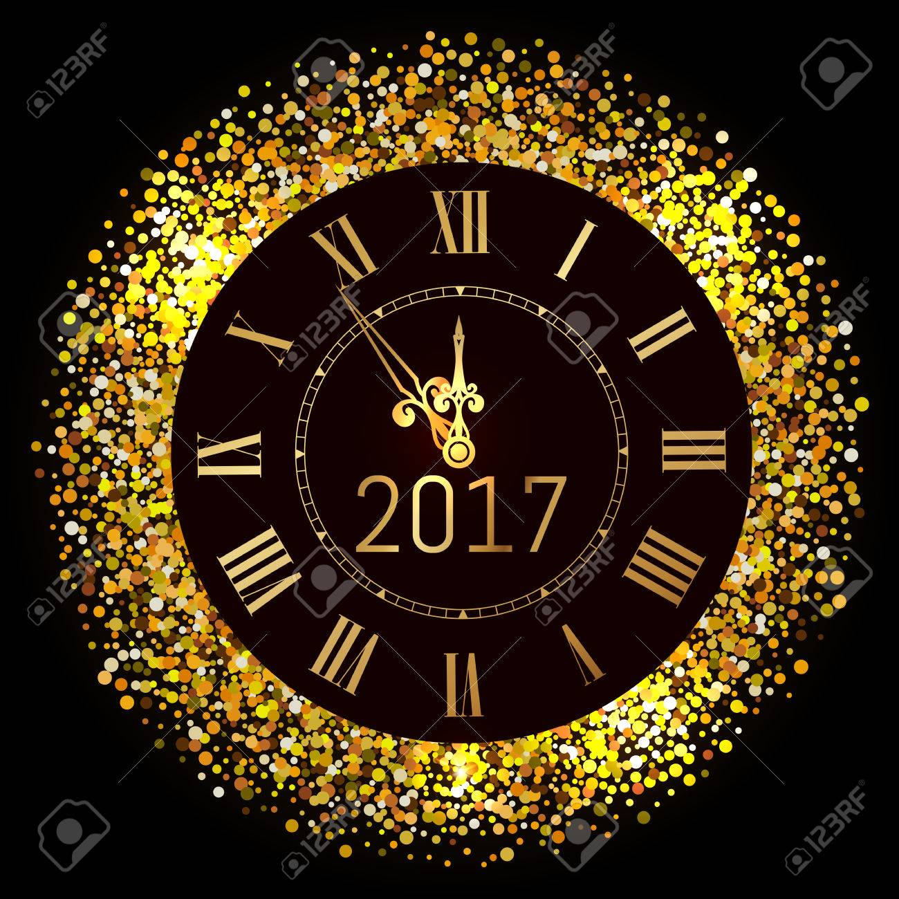 Vector 2017 shiny Merry Christmas and Happy new year 2017 gold clock with glitter frame. Vintage elegant luxury gold watch midnight New Year. Vector illustration EPS 10 - 72312991