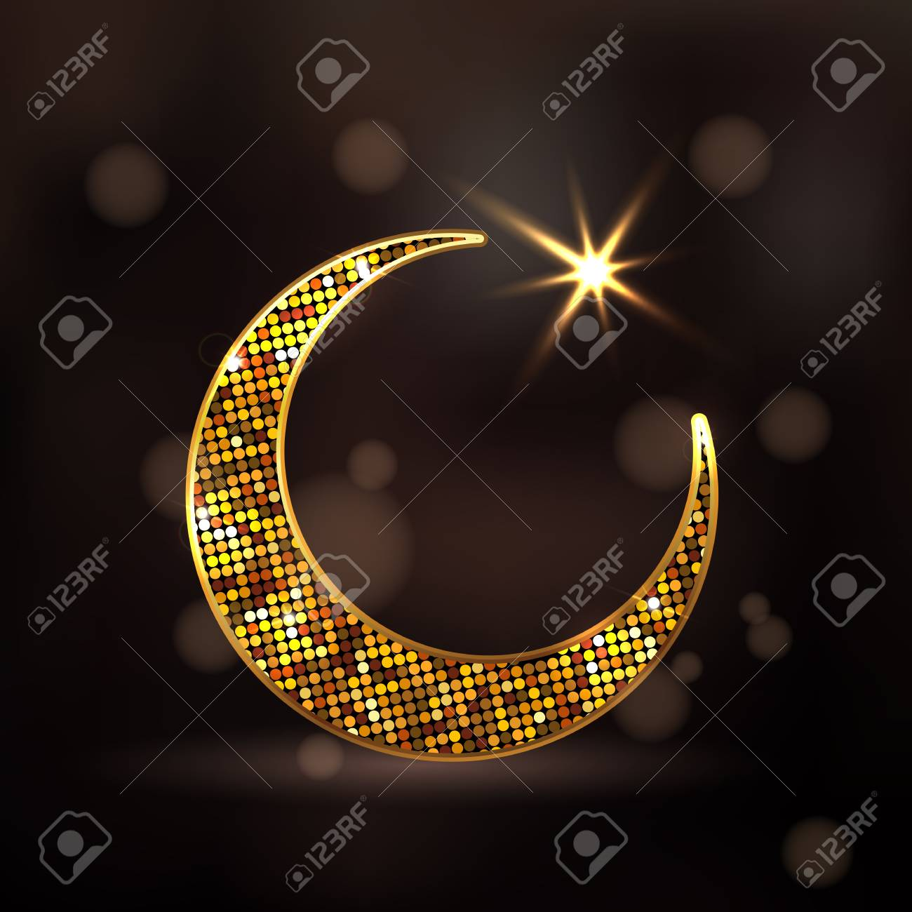 Golden dotted design decorated crescent moon and glowing star