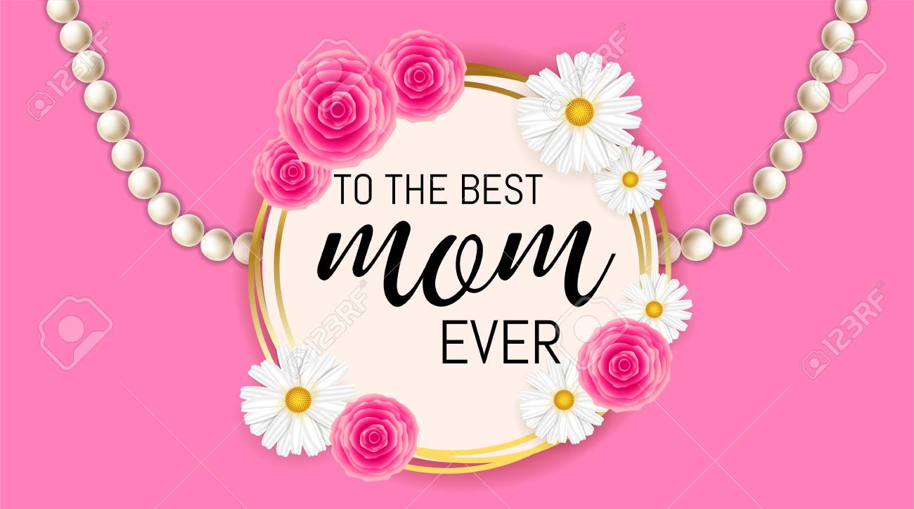 Happy Mother\'s Day Background Template With Beautiful Camomiles ...