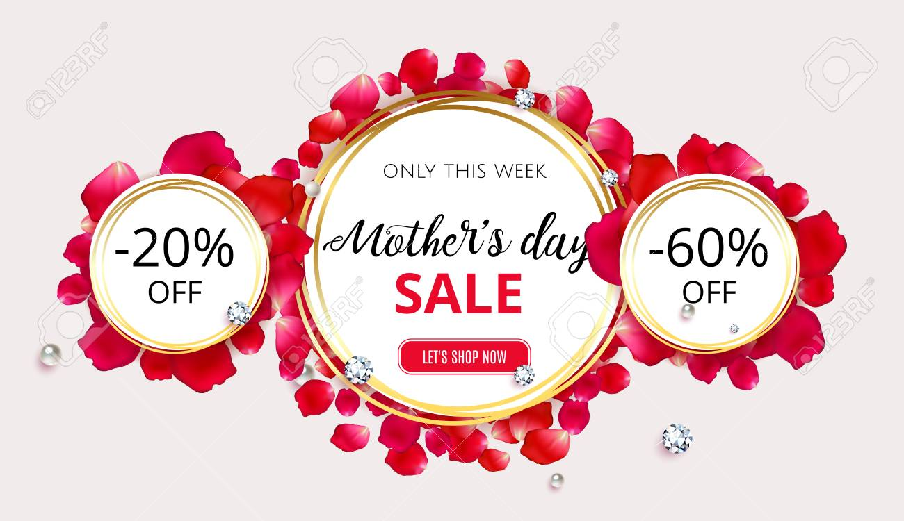 mother s day sale background template with flower red rose petals