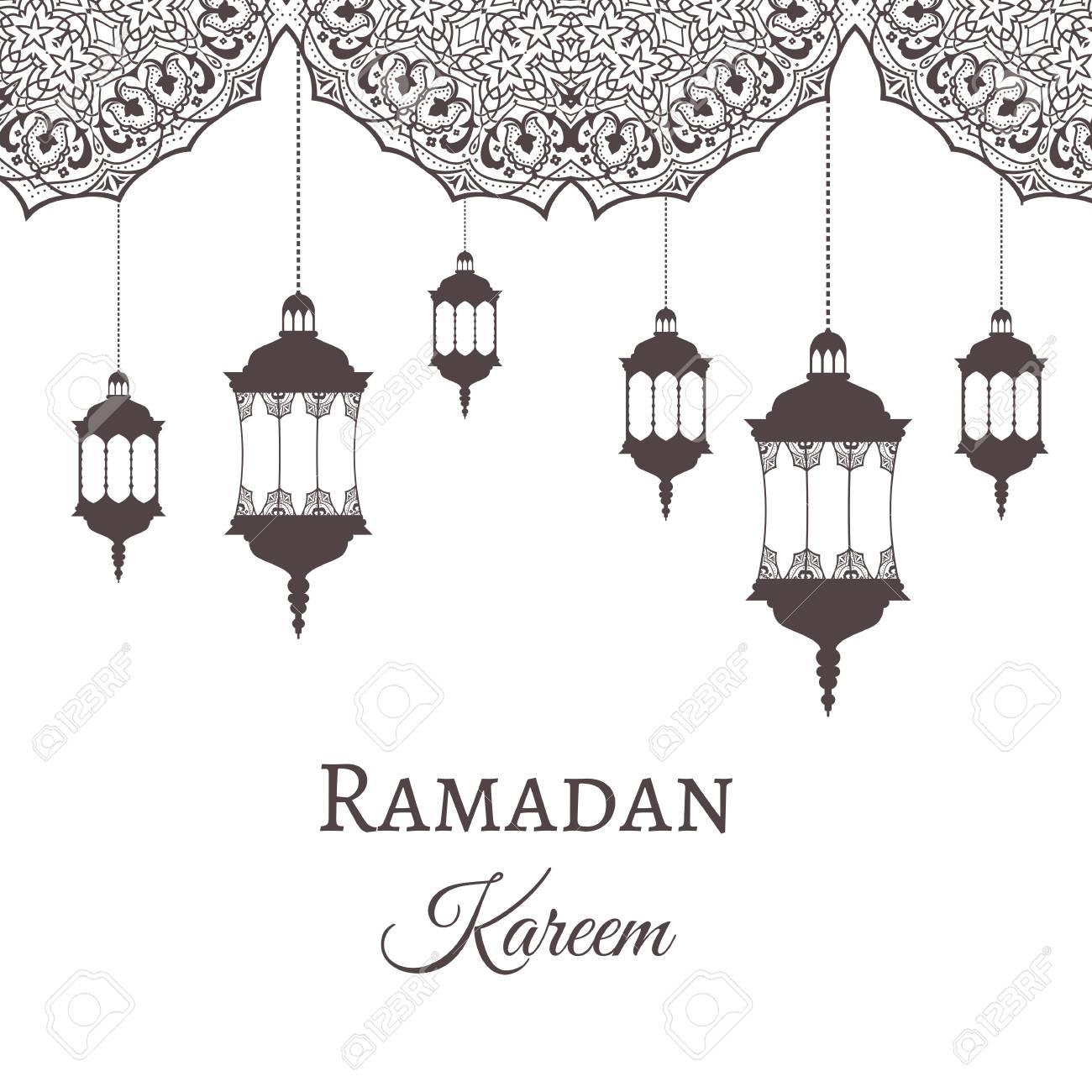 Ramadán Kareem Saludo Patrones Plantillas Y Linternas De Diseño ...