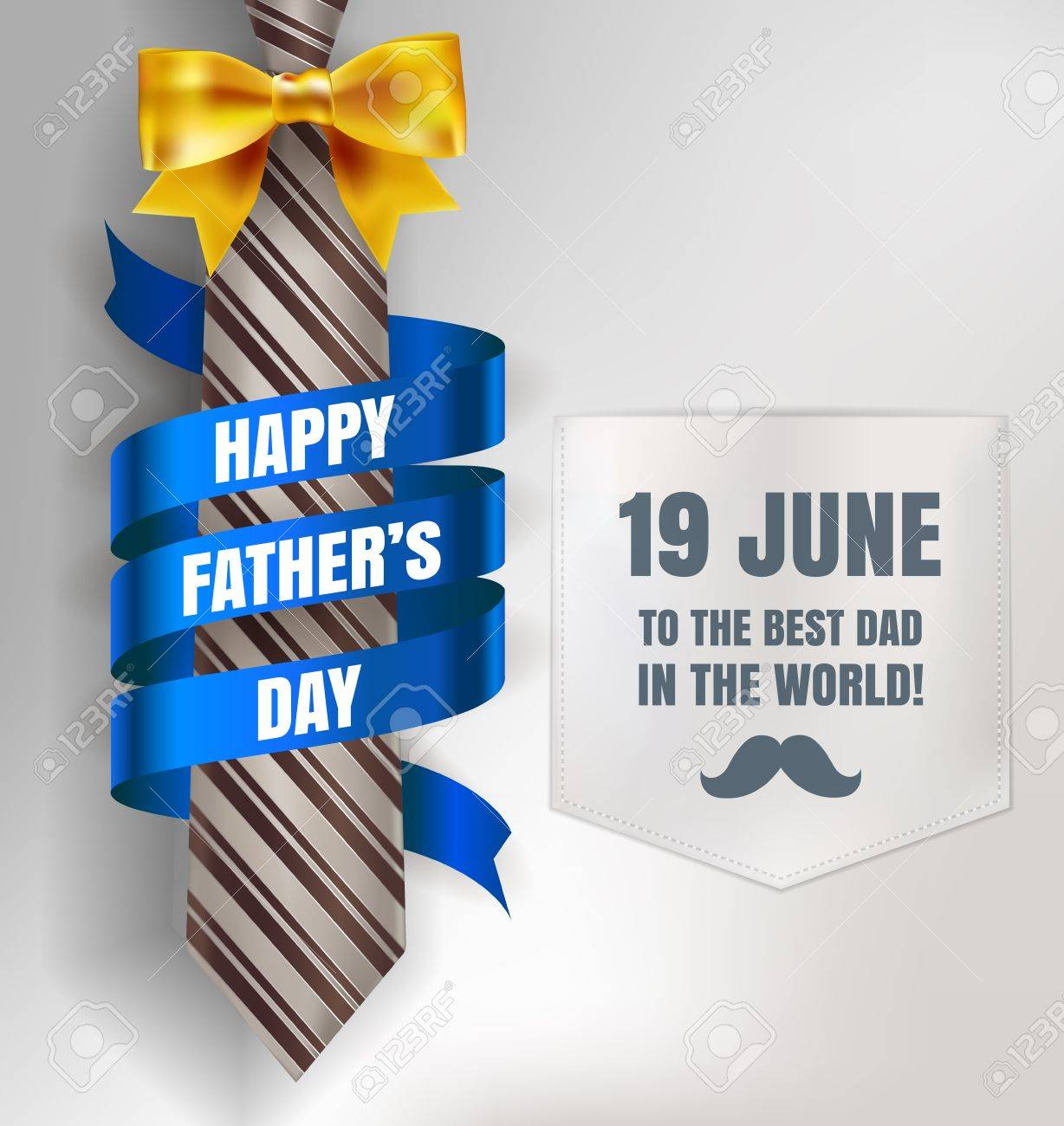 Happy Father's Day Background Template With Man Brown Tie And ...