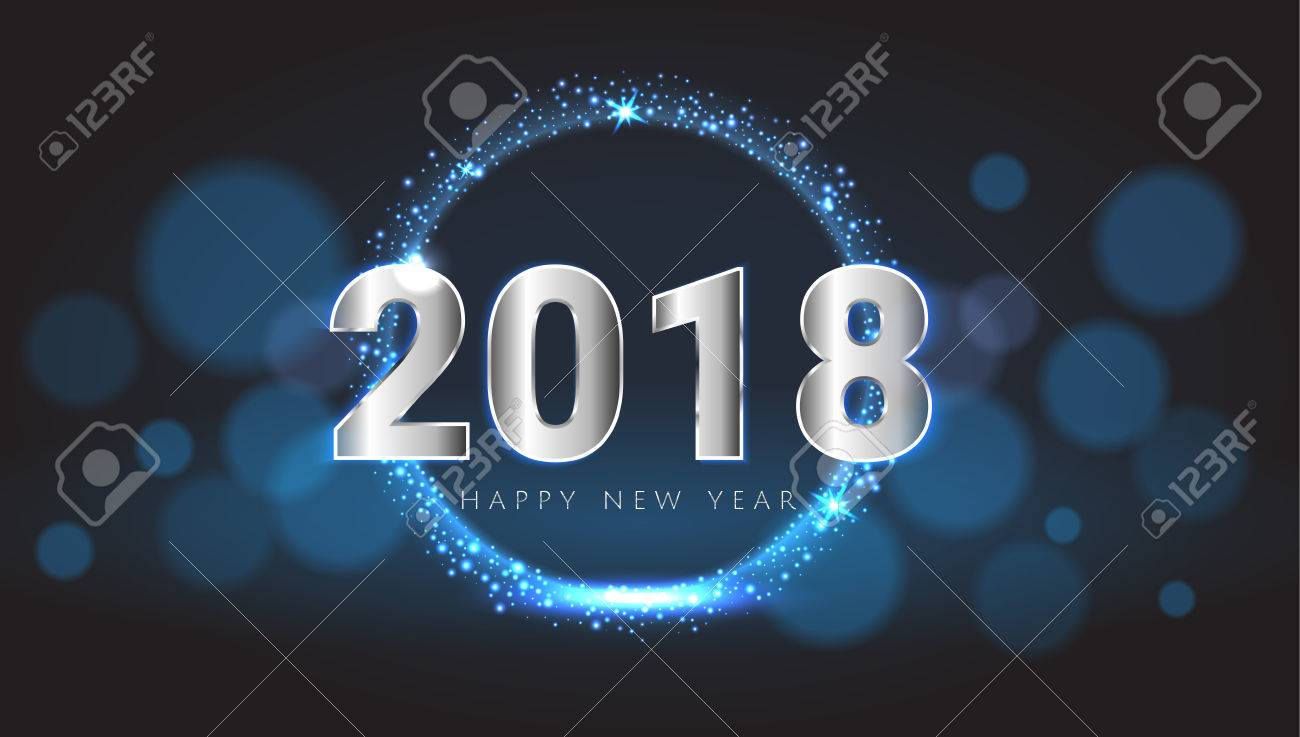 Happy New 2018 Year shiny glowing blue and silver greeting card. Vector illustration. Wallpaper. - 87429212
