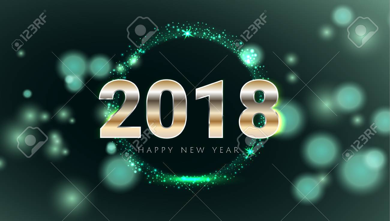 Happy New 2018 Year shiny glowing green and gold greeting card. Modern design Vector illustration. Wallpaper. - 87429213