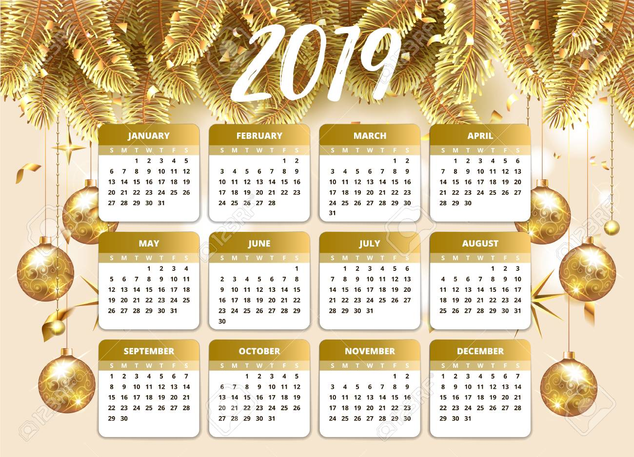 2019 Happy New Year Design Wallpaper With Calendar Planner Gold Royalty Free Cliparts Vectors And Stock Illustration Image 114918945