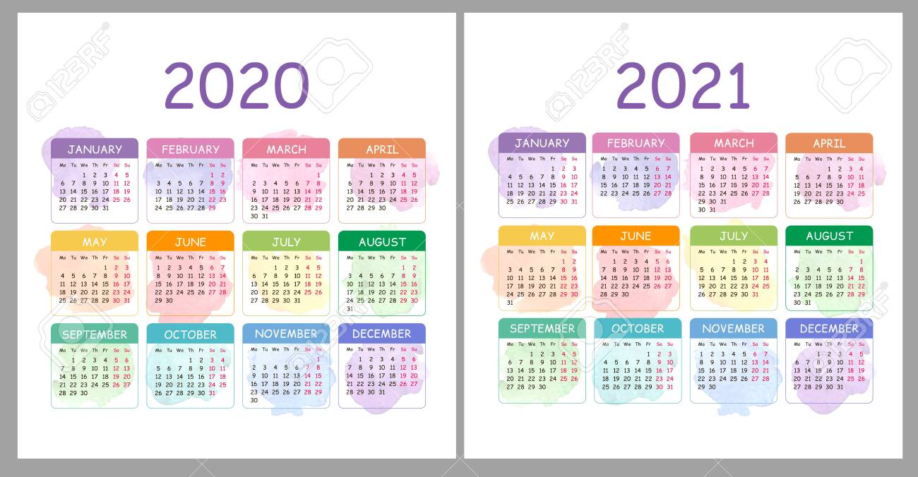 2020 And 2021 Pocket Calendar Vector Calendar 2020, 2021 Years. Colorful Set With Watercolor