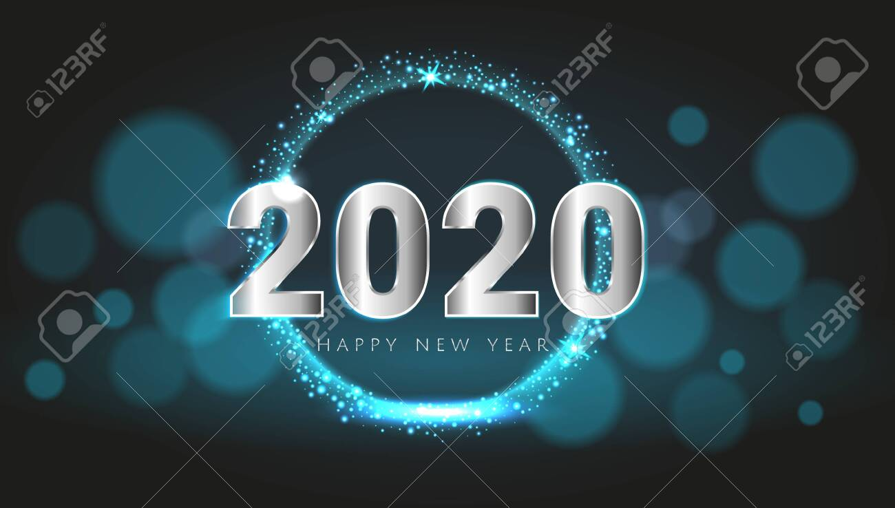 Blue 2020 Happy New Year card with premium bokeh magic texture design background. Festive rich premium luxury design for holiday card, invitation, calendar poster. Happy 2020 New Year text template. - 137889221