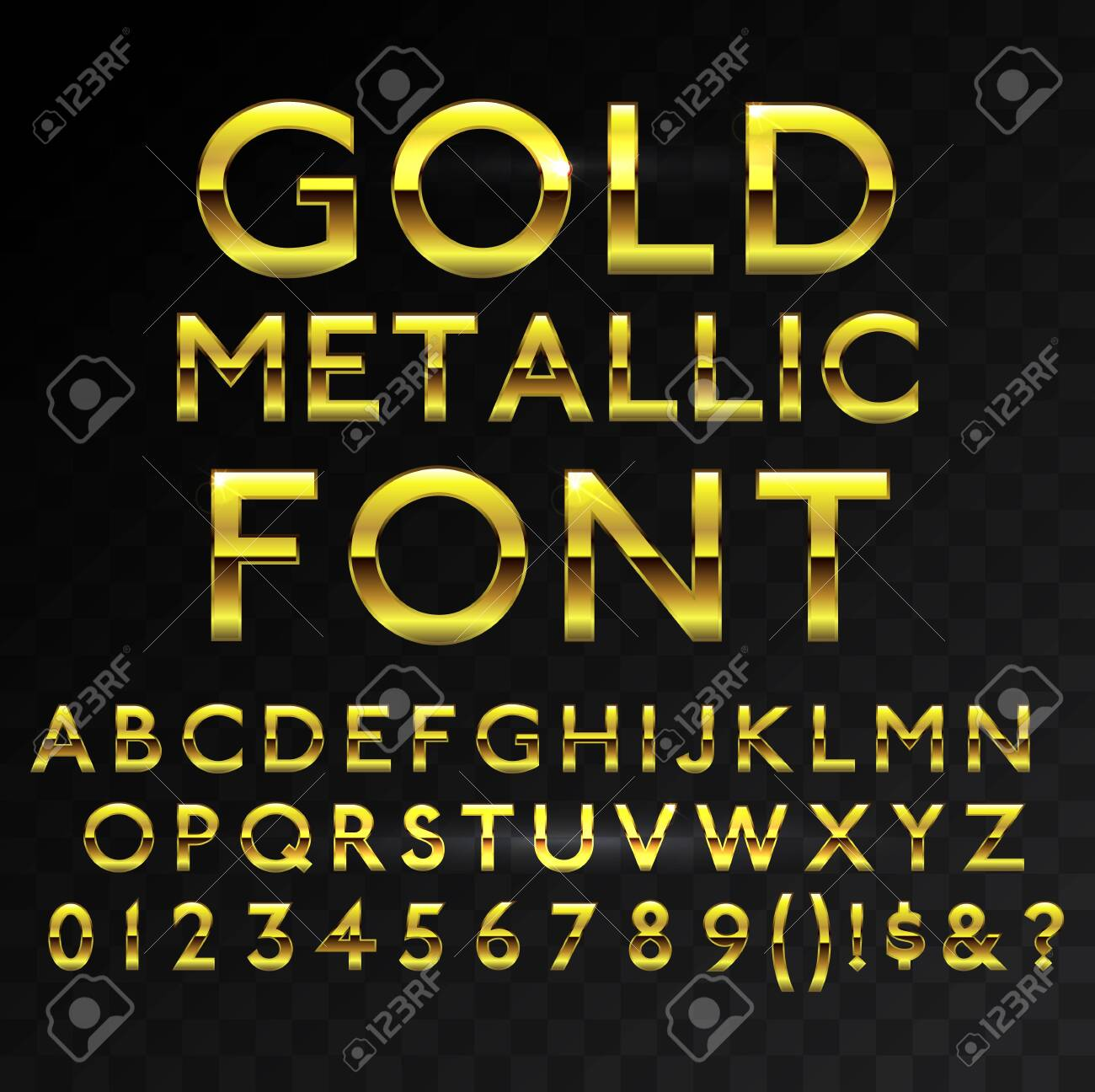 Gold metallic glossy vector font or gold style alphabet. Yellow metal typeface. Metallic golden abc, alphabet typographic luxury premium deluxe text effect isolated in transparent black background - 147986193