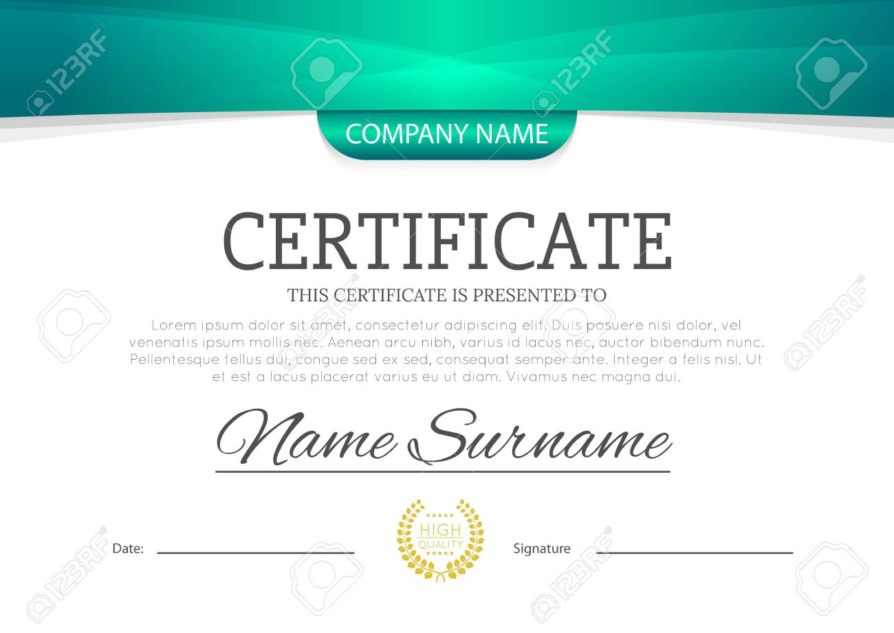 Modern turquoise blue or green color certificate or diploma A4 horizontal template design vector illustration mock-up. - 148142776
