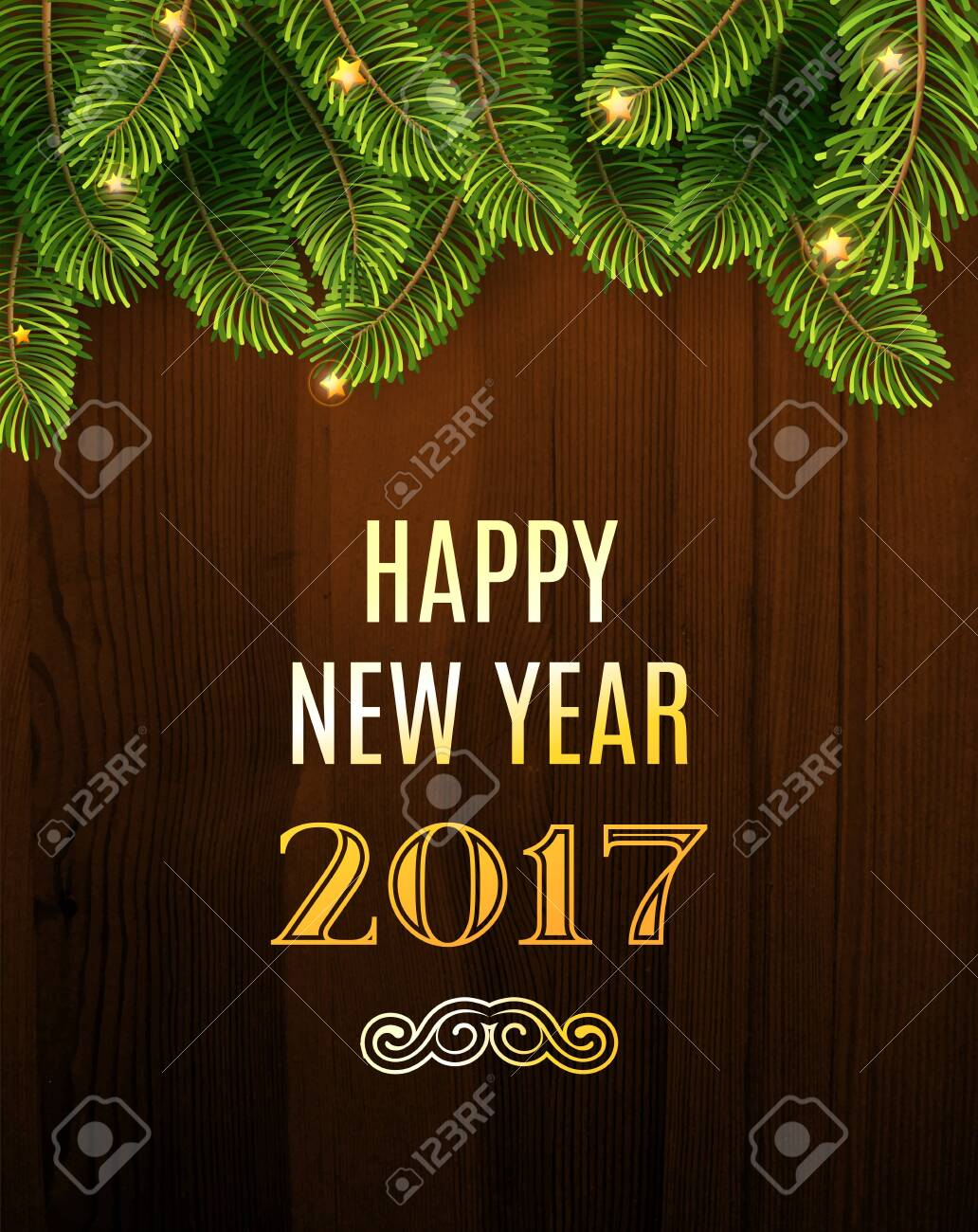 Christmas Greeting Card. Inscription with Christmas and new year 2017 against wooden texture and branches of a New Year's tree Christmas. Vector Illustration. - 148267894
