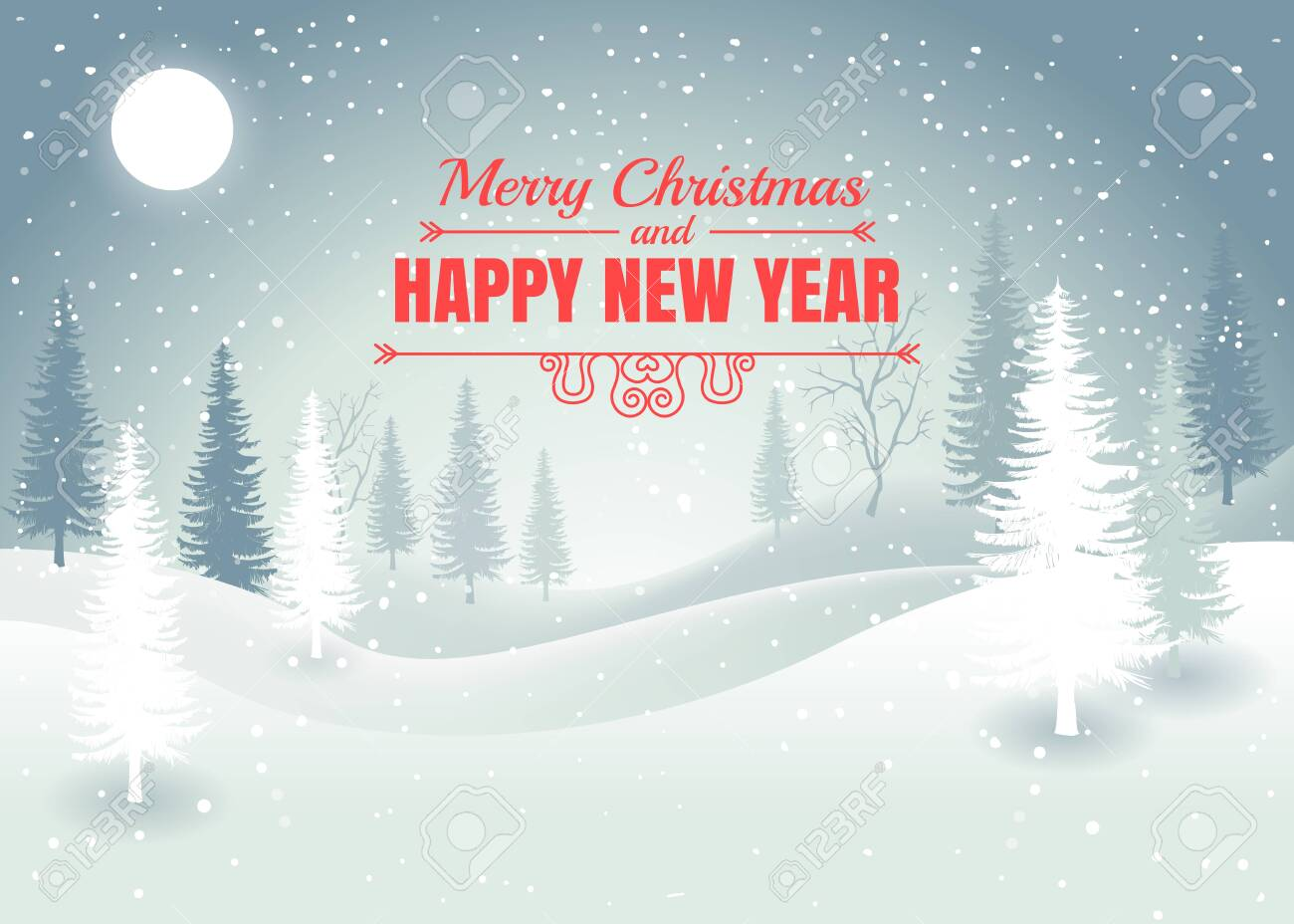 Holiday winter landscape background with winter tree. Merry Christmas and Happy New Year. Vector - 149078732