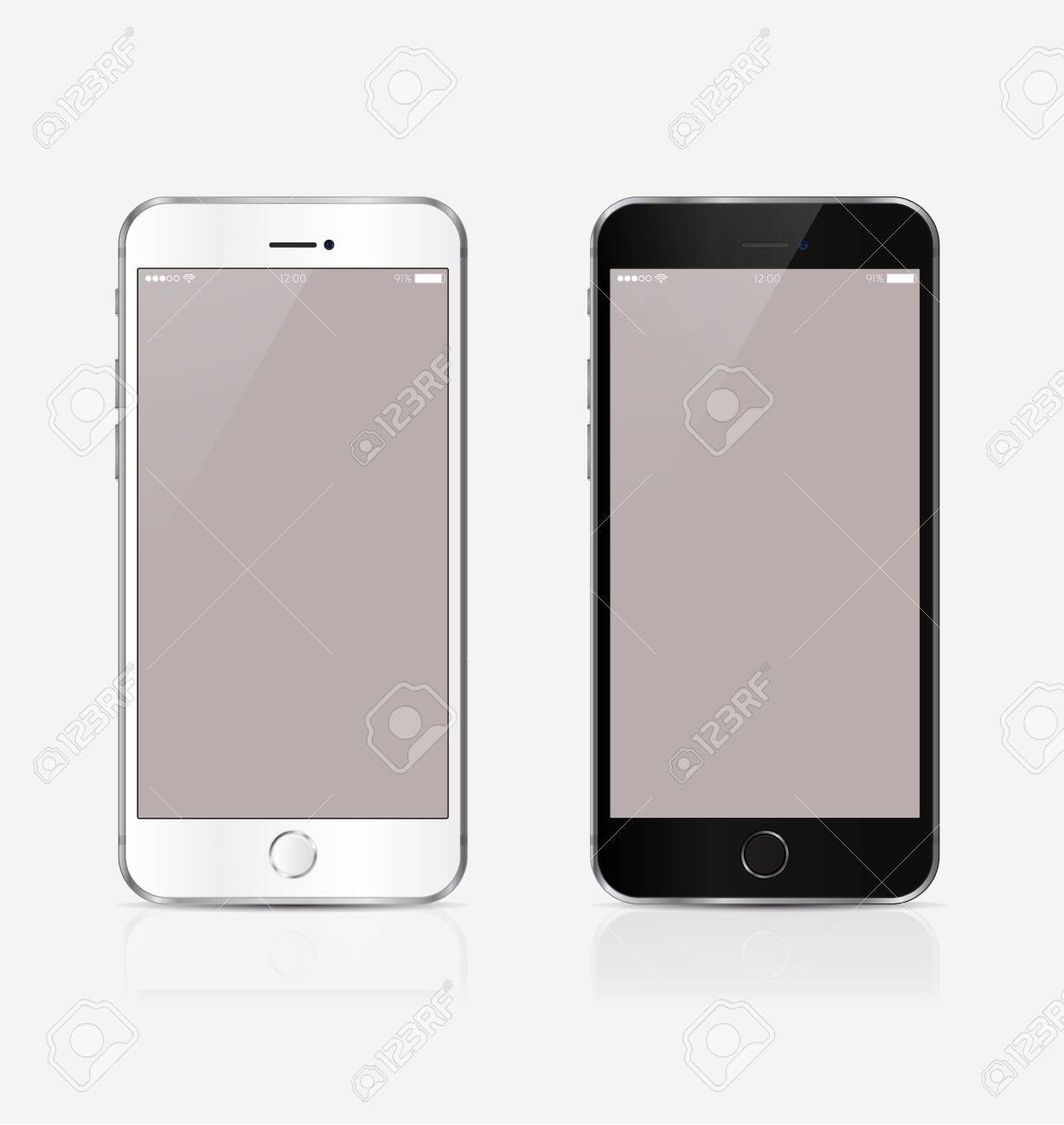 New realistic mobile phone smartphone collection mockups with blank screen isolated on white background. Vector illustration. for printing and web element, Game and application mockup - 149603017