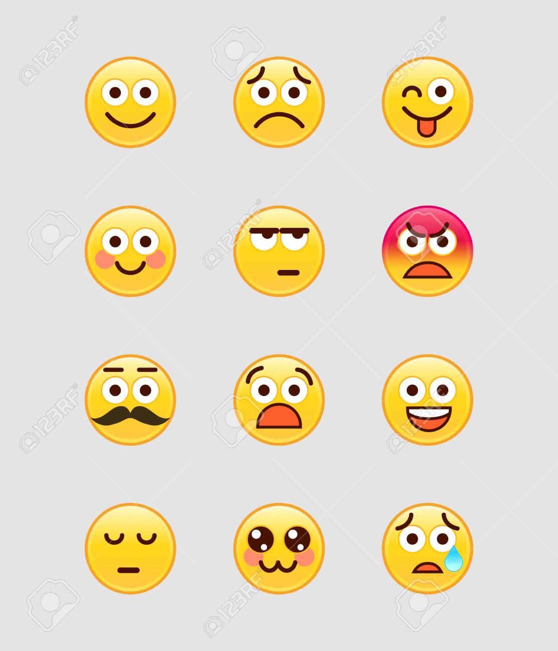 Set of yellow mobile Emoji. Vector illustration. - 149976584