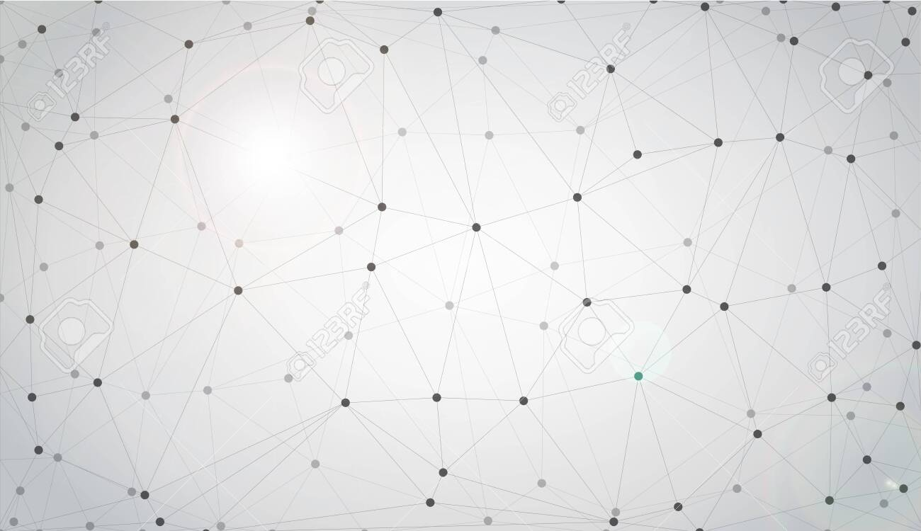 Grey graphic background dots with connections for your design. Vector illustration - 149604053