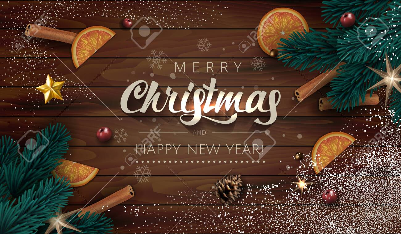 Dark Wooden Christmas illustration Background with Realistic Fir Tree Branches, Gift boxes, Gold Stars, oranges and spices cinnamon stick. Lettering Merry Christmas and Happy New Year with snowflakes. - 158057560